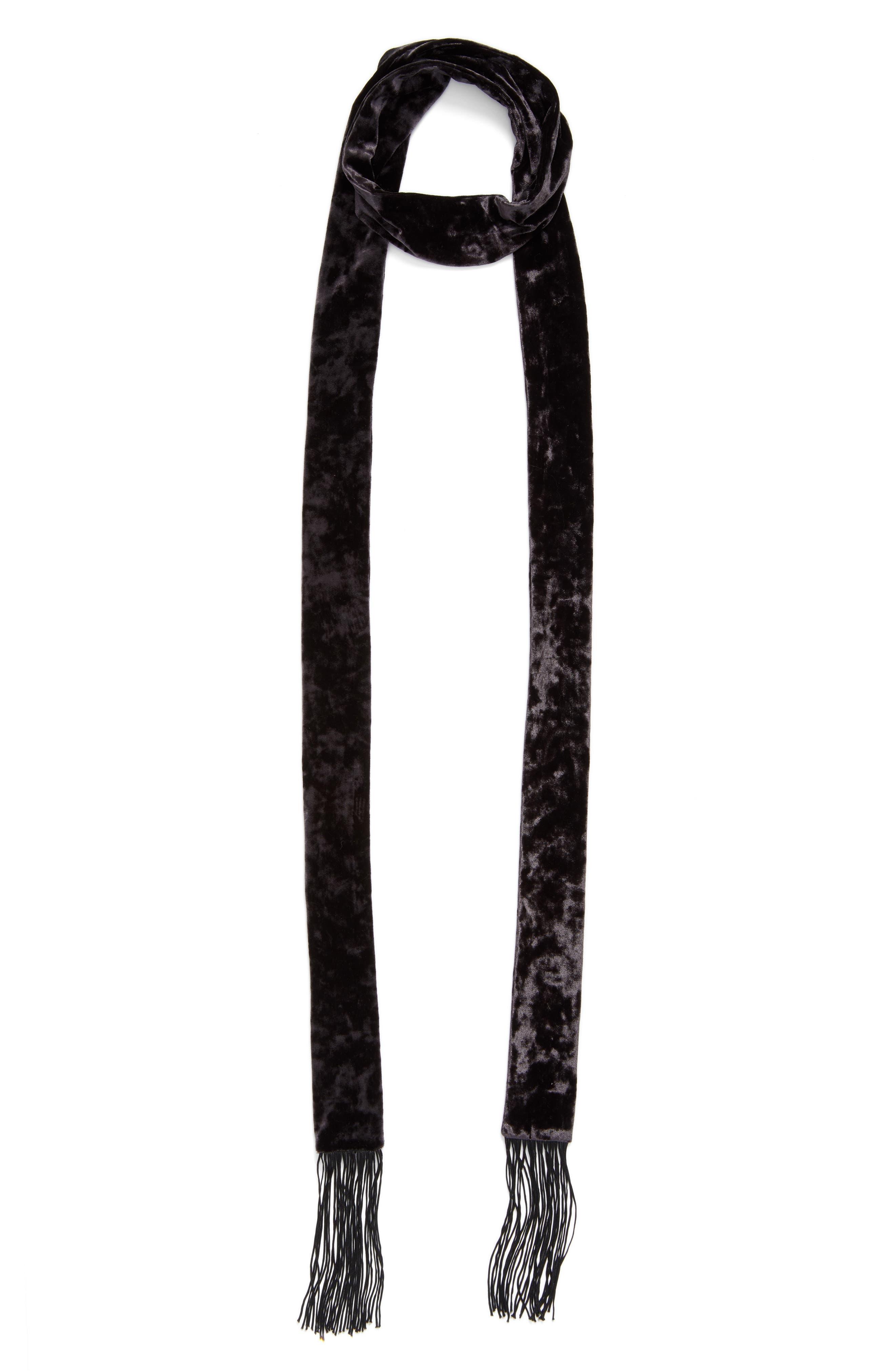Alternate Image 3  - Hinge Fringe Velvet Skinny Scarf