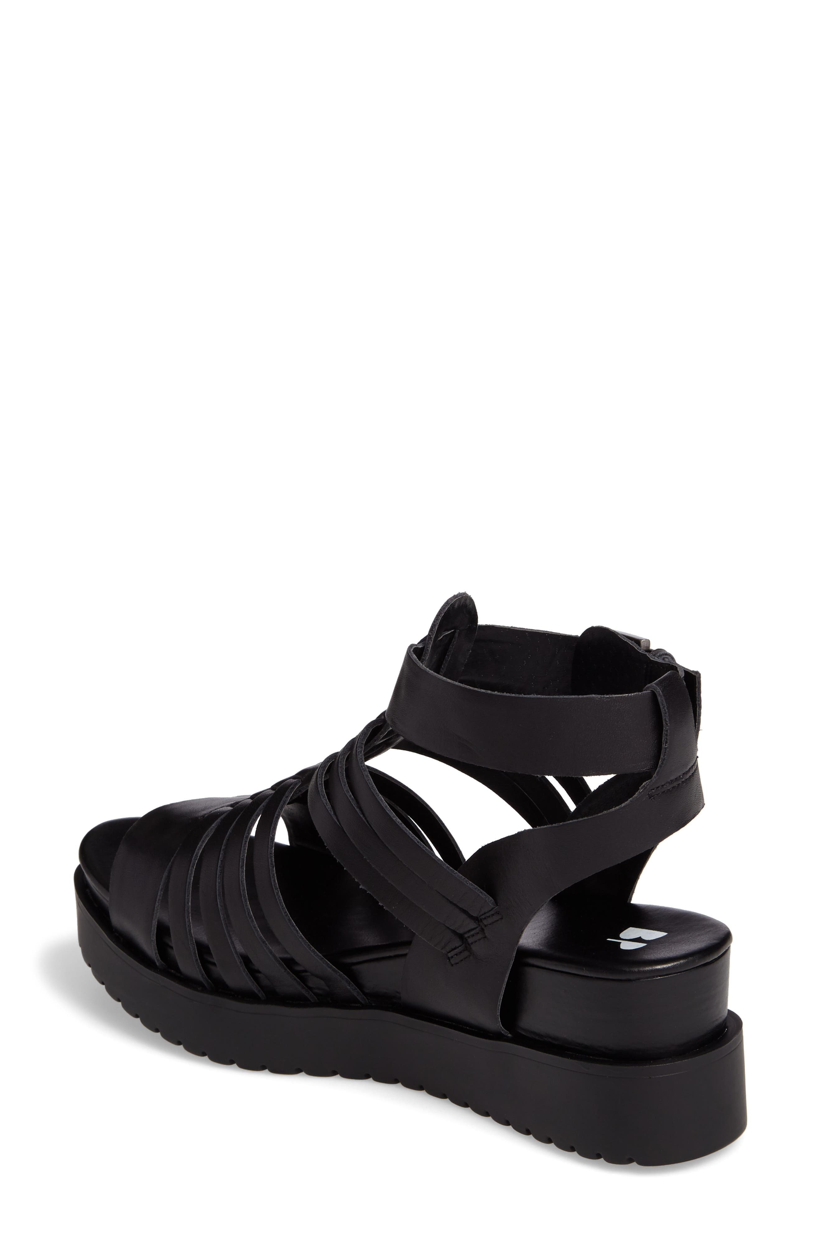 Ronnie Gladiator Platform Sandal,                             Alternate thumbnail 2, color,                             Black Leather