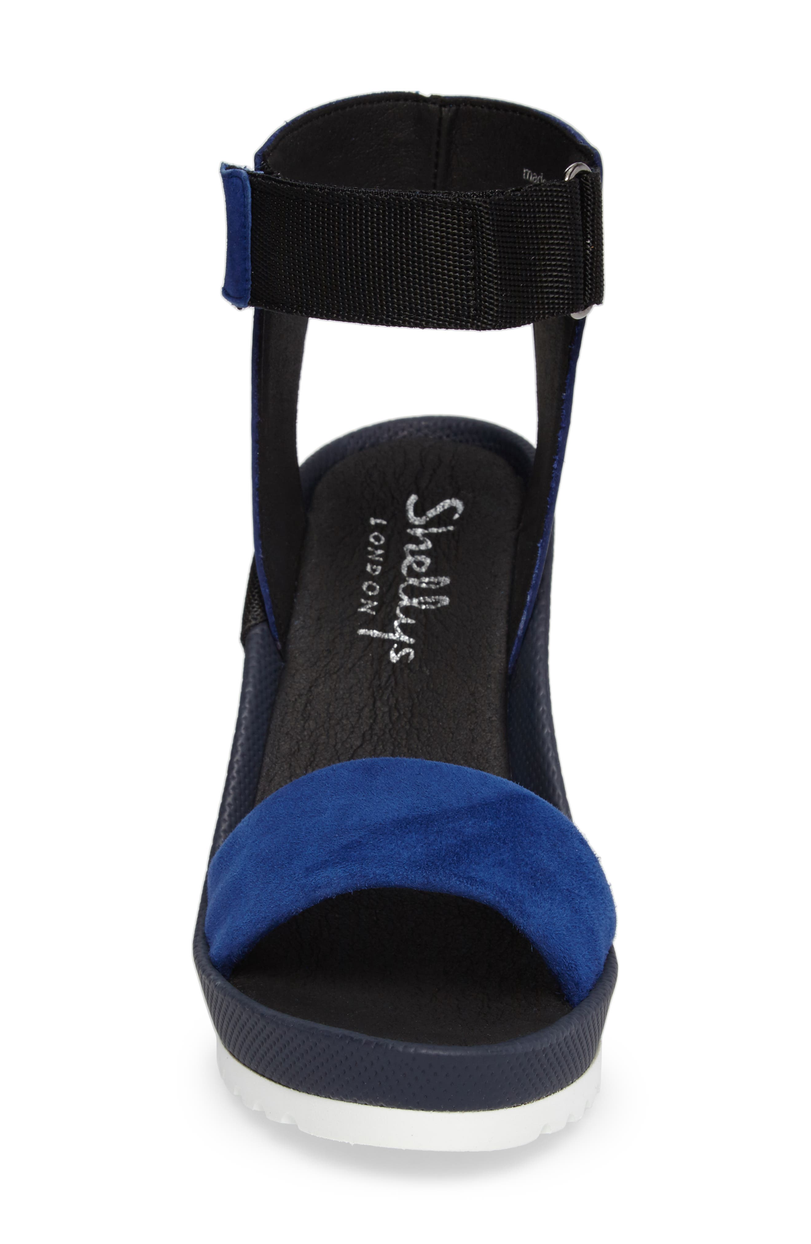 Kayleigh Wedge Sandal,                             Alternate thumbnail 4, color,                             Blue Multi Suede