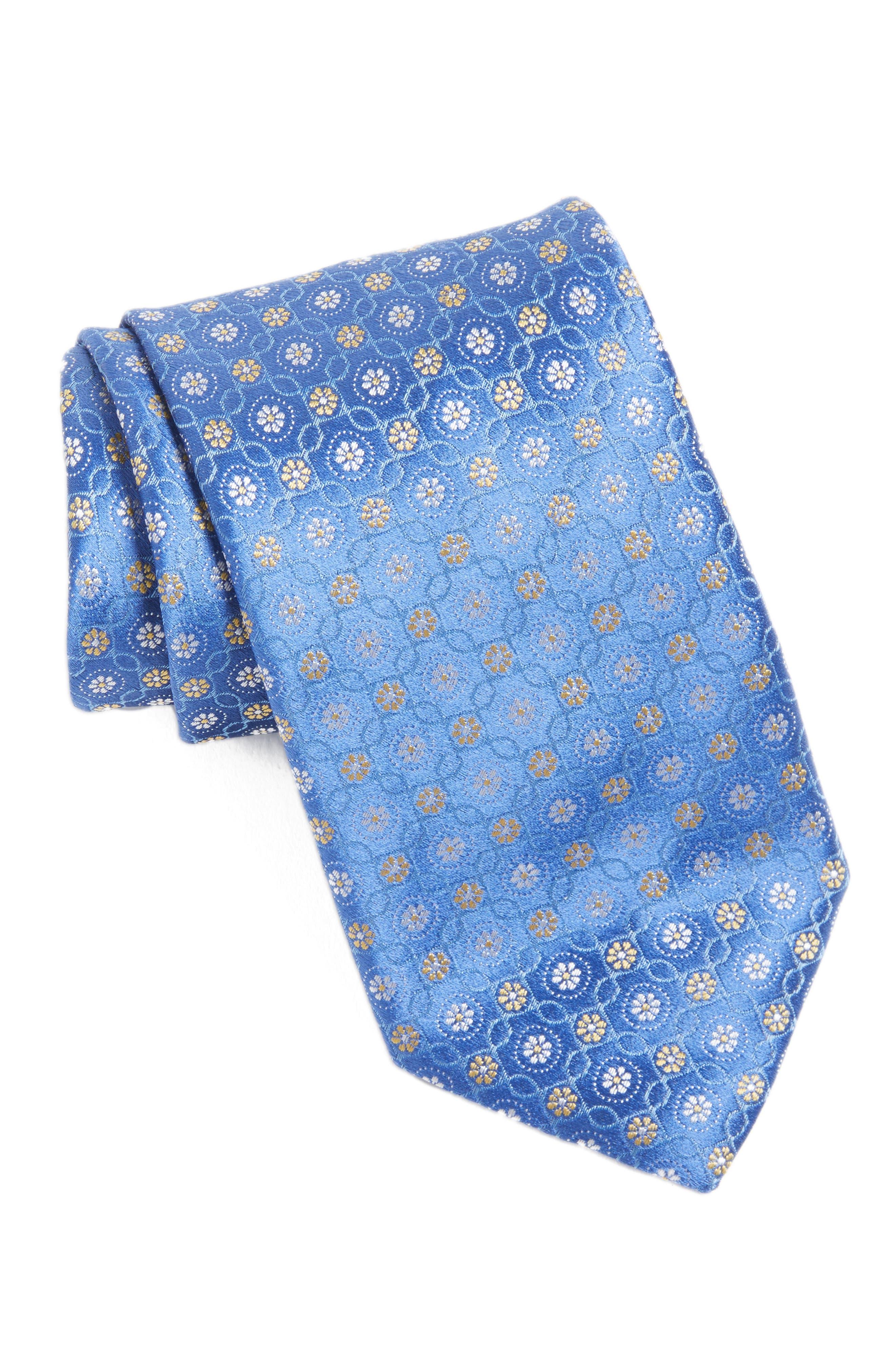 Medallion Silk Tie,                         Main,                         color, Medium Blue