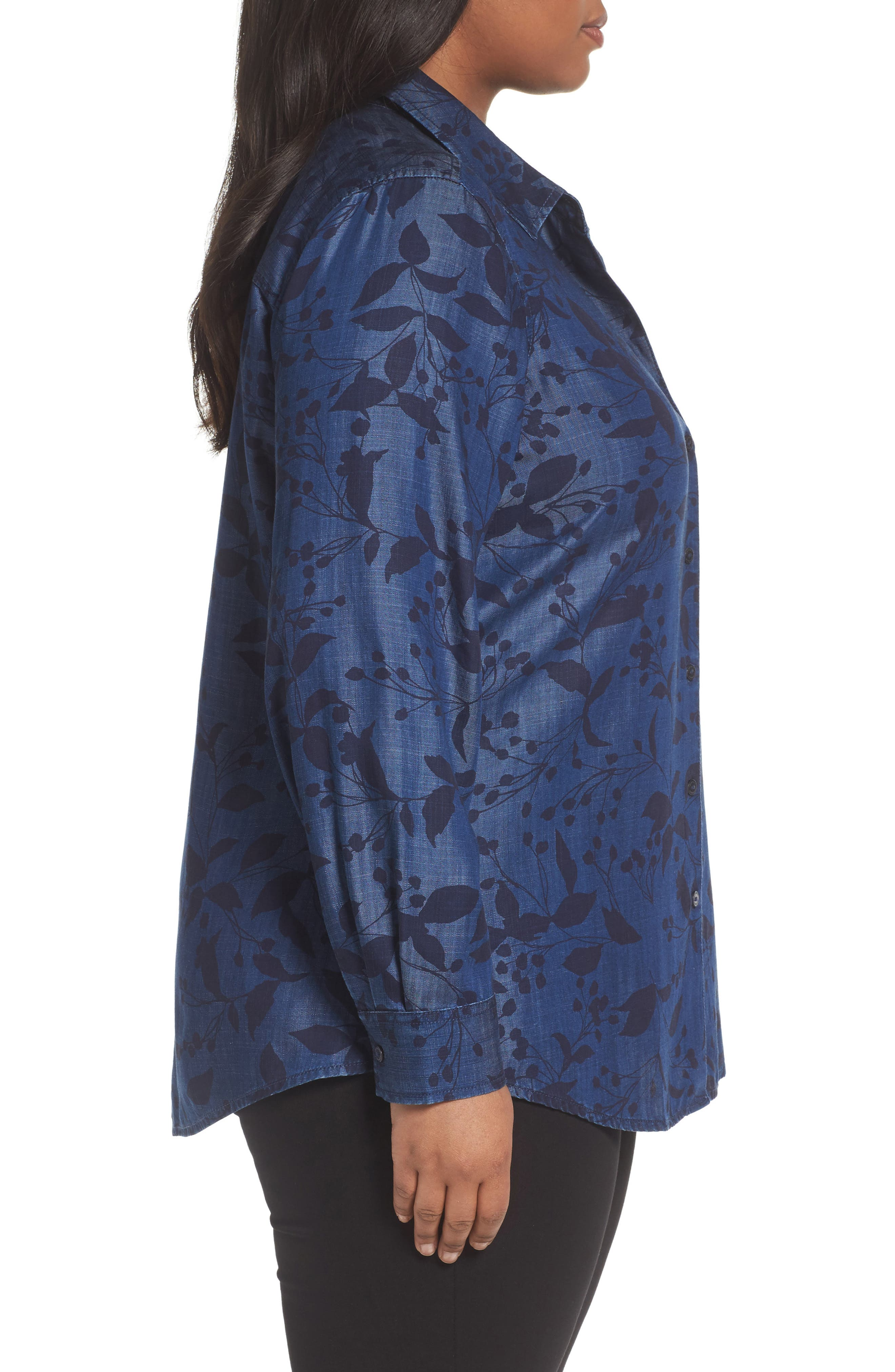 Alternate Image 3  - Foxcroft Addison Floral Print Tencel® Shirt (Plus Size)