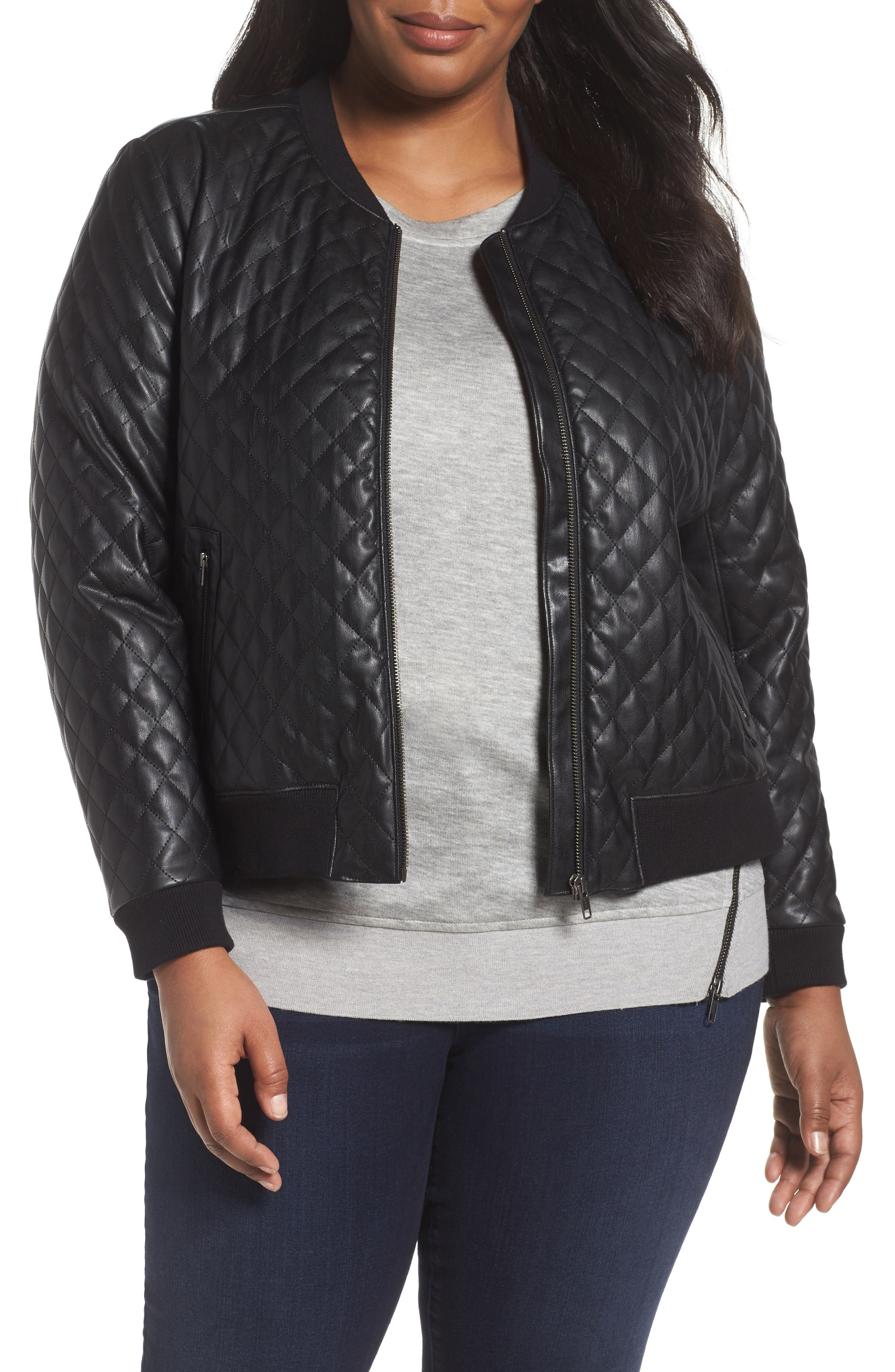 Sejour Quilted Faux Leather Bomber Jacket (Plus Size)