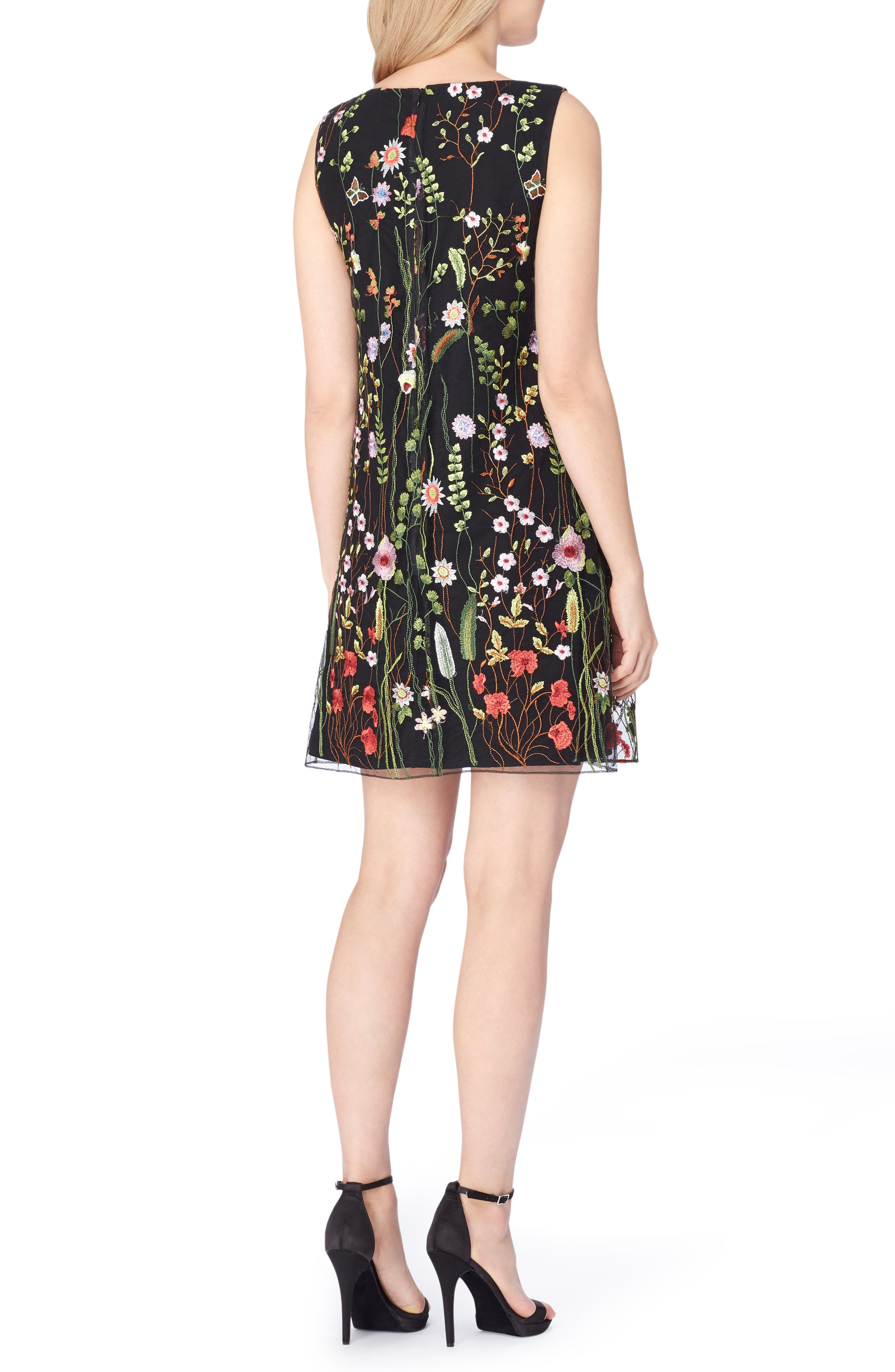 Embroidered Shift Dress,                             Alternate thumbnail 2, color,                             Black/ Lime