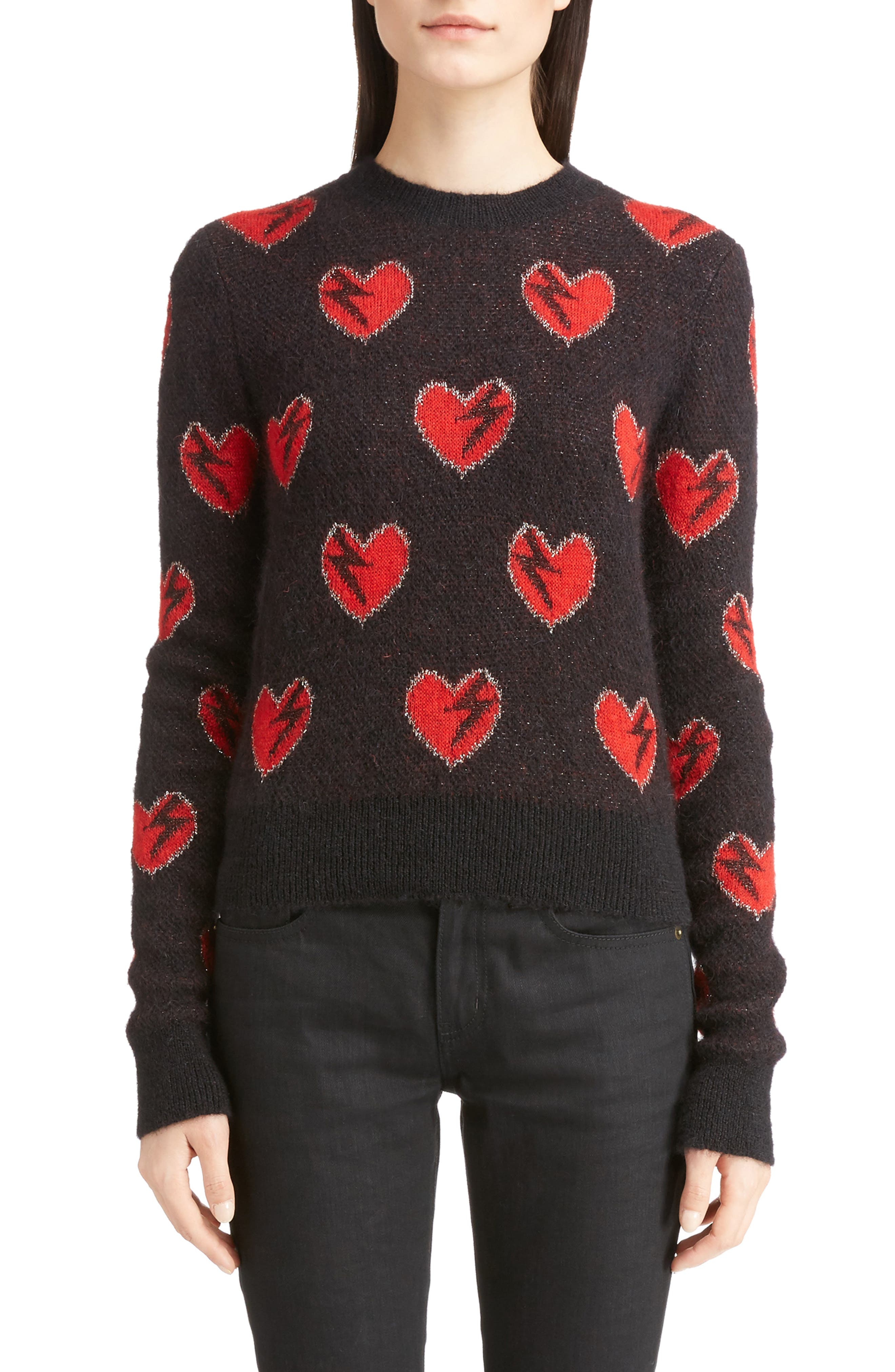Heart Jacquard Mohair Blend Sweater,                         Main,                         color, Black/ Red/ Silver