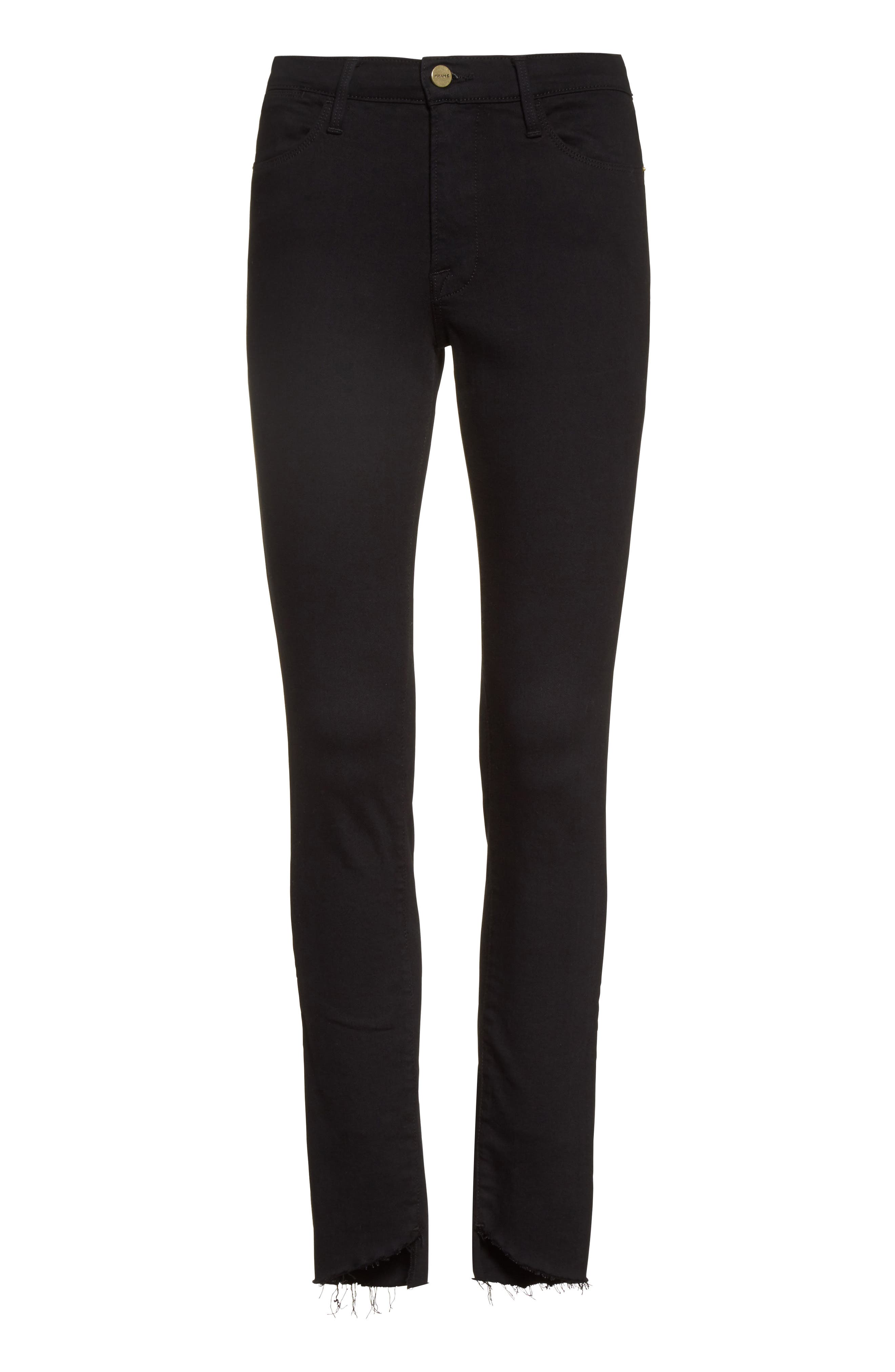 Alternate Image 7  - FRAME Le High Skinny Step Hem Jeans (Film Noir) (Nordstrom Exclusive)