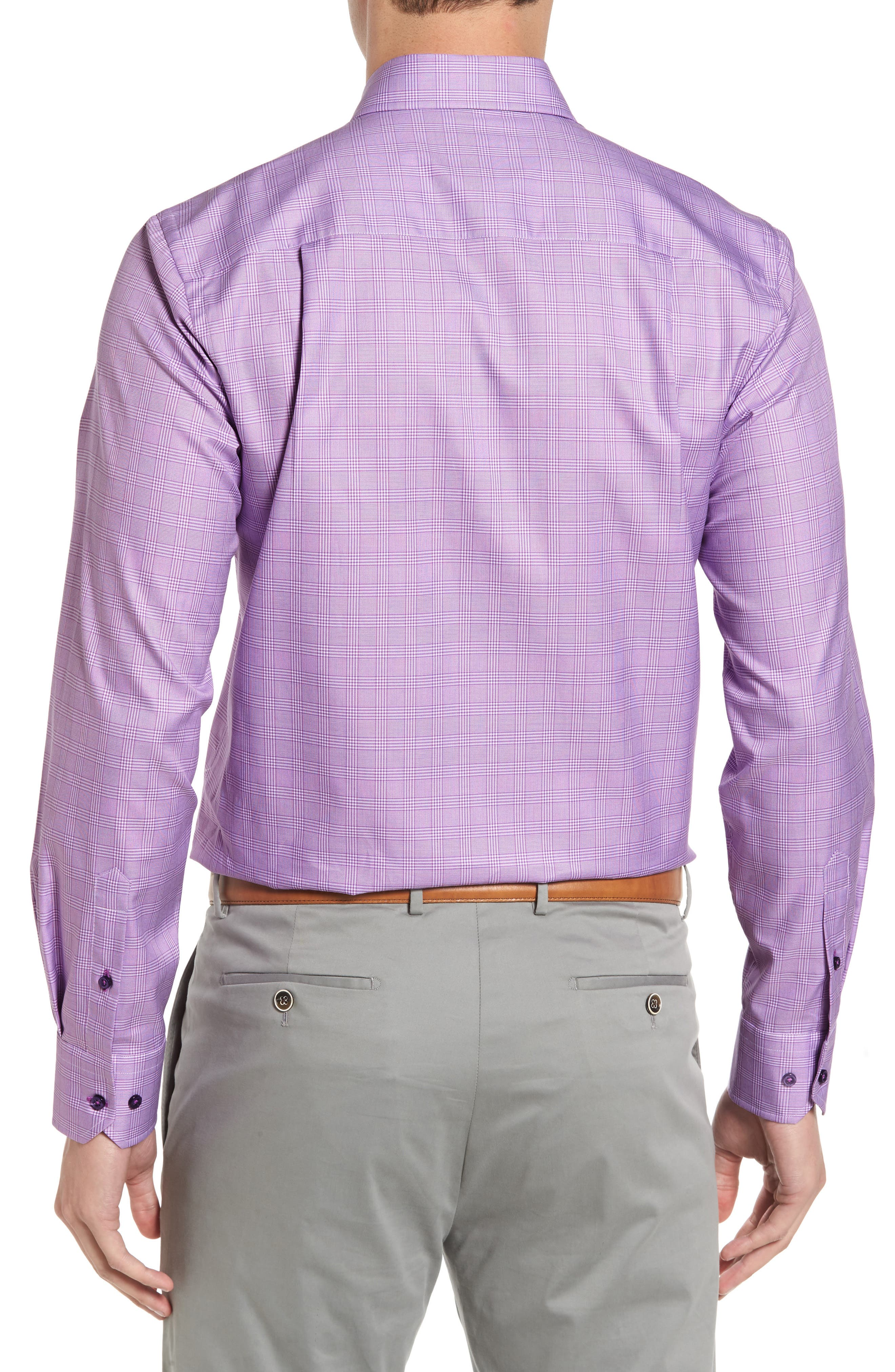 Regular Fit Plaid Sport Shirt,                             Alternate thumbnail 2, color,                             Lilac