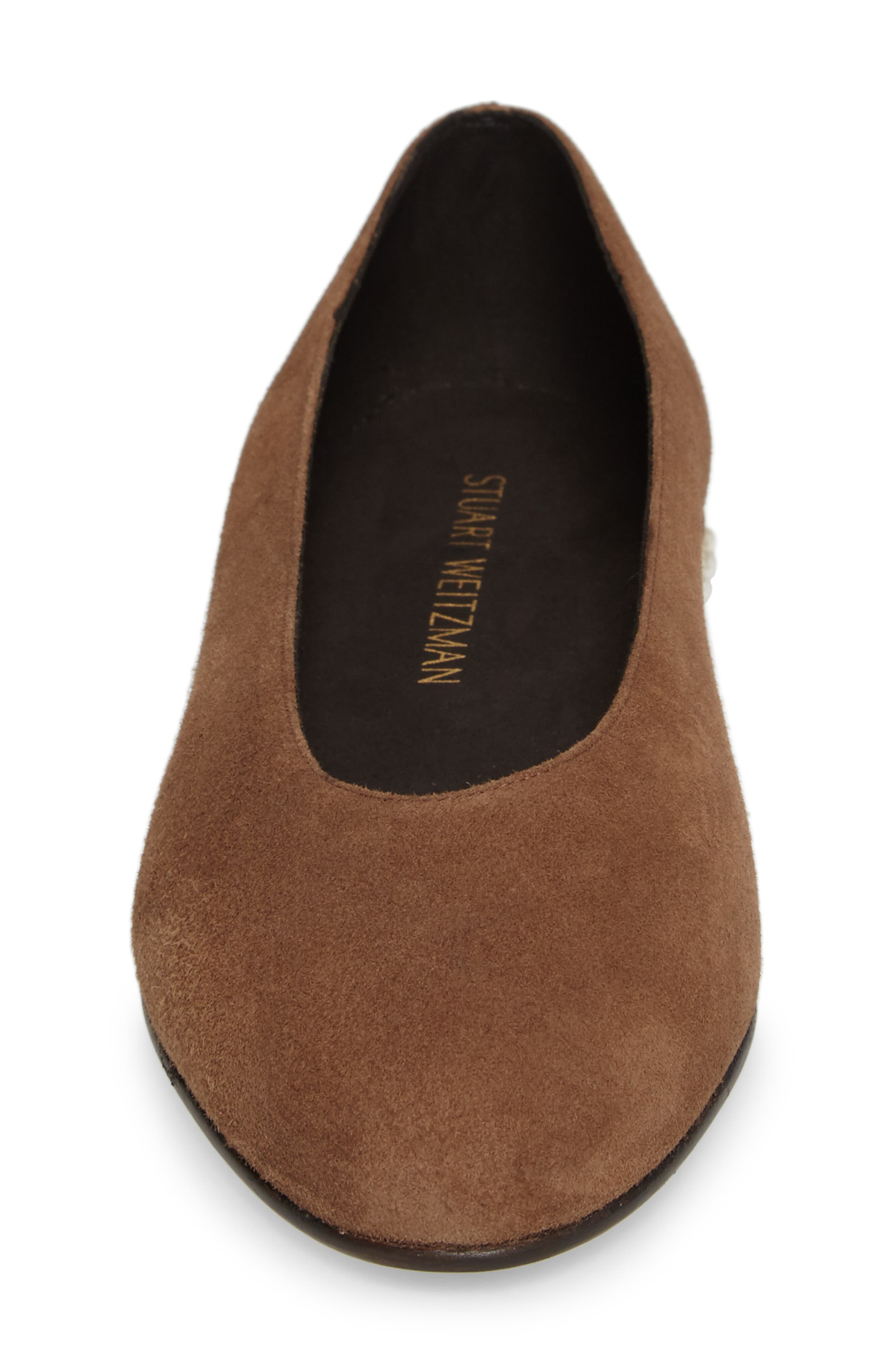 Chicpearl Ballet Flat,                             Alternate thumbnail 4, color,                             Nutmeg Suede