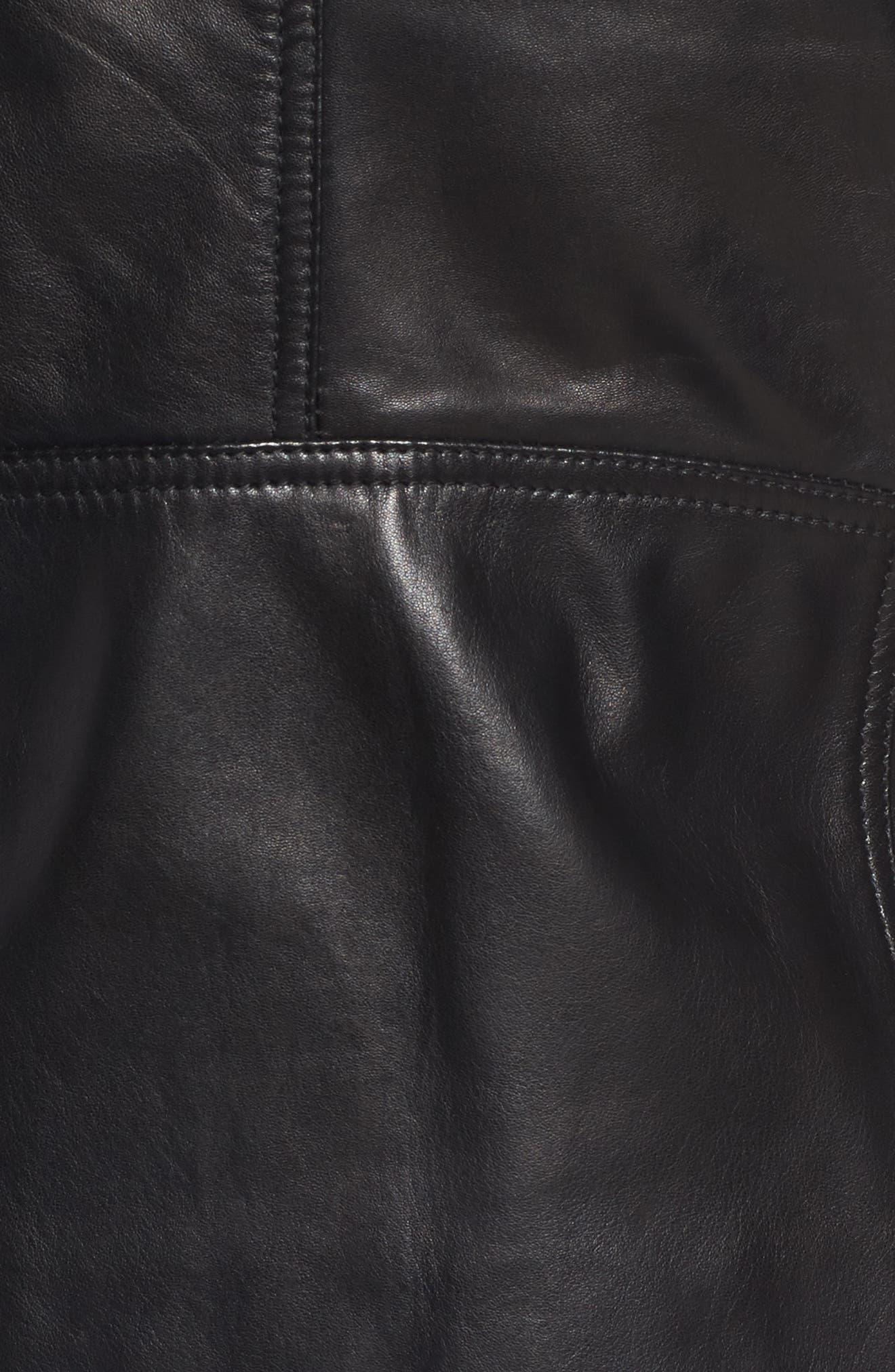 Asymmetrical Zip Leather Biker Jacket,                             Alternate thumbnail 7, color,                             Black