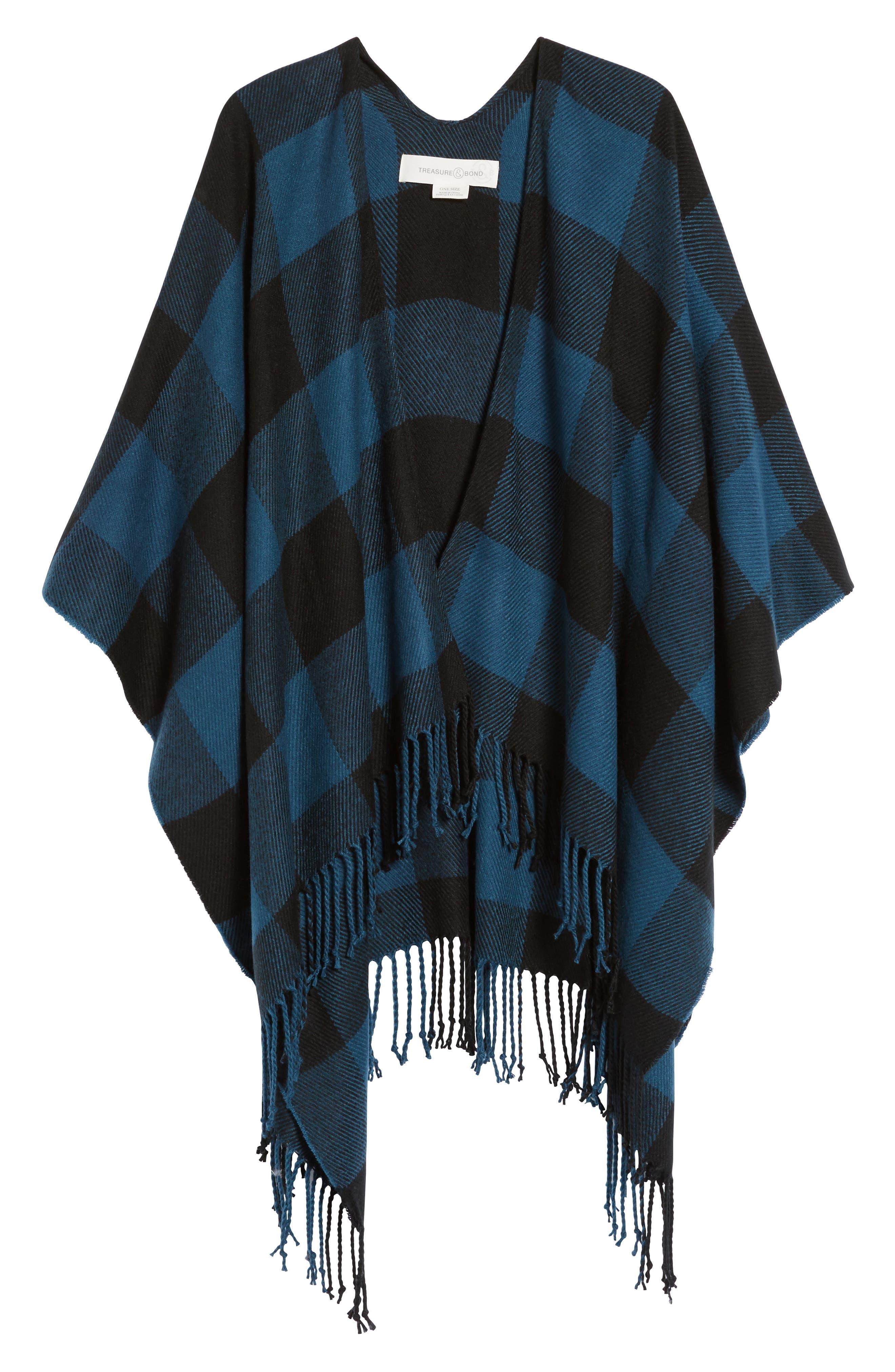 Woven Buffalo Check Ruana,                             Alternate thumbnail 5, color,                             Blue Combo