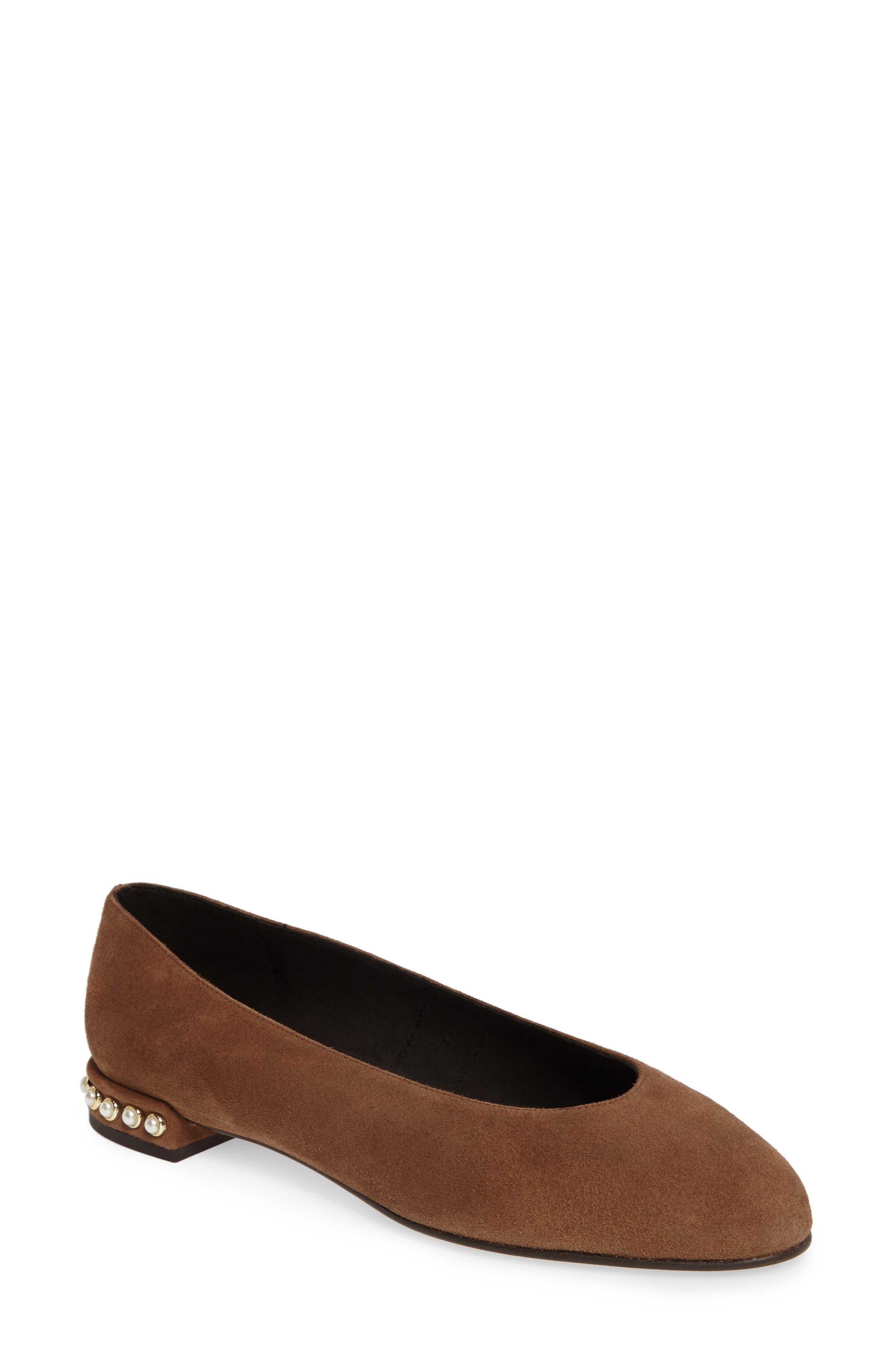 Chicpearl Ballet Flat,                             Main thumbnail 1, color,                             Nutmeg Suede