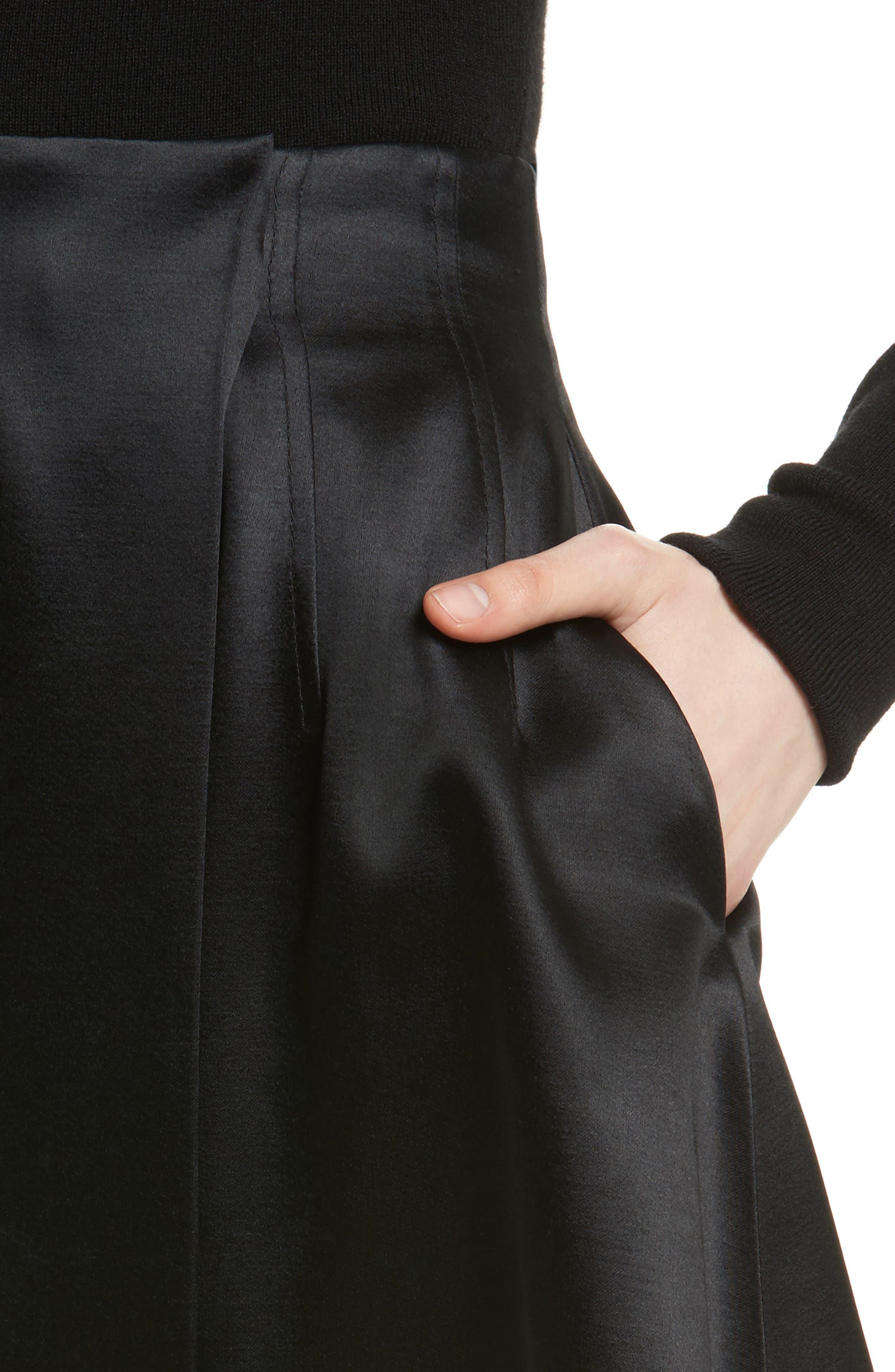 High Waist Flare Wrap Miniskirt,                             Alternate thumbnail 4, color,                             Black