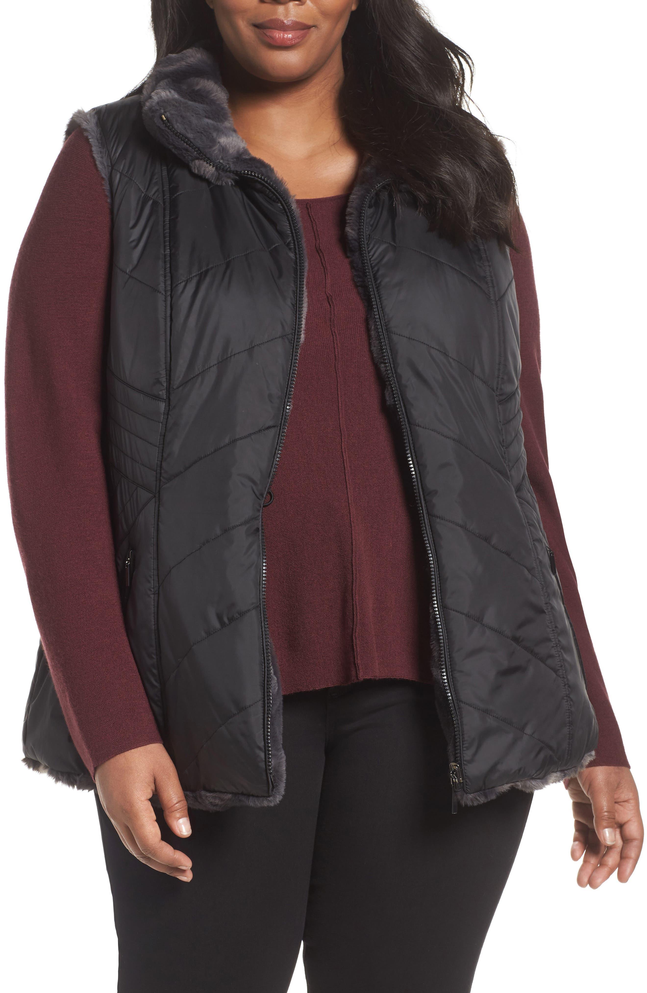 Reversible Faux Fur Vest,                         Main,                         color, Black