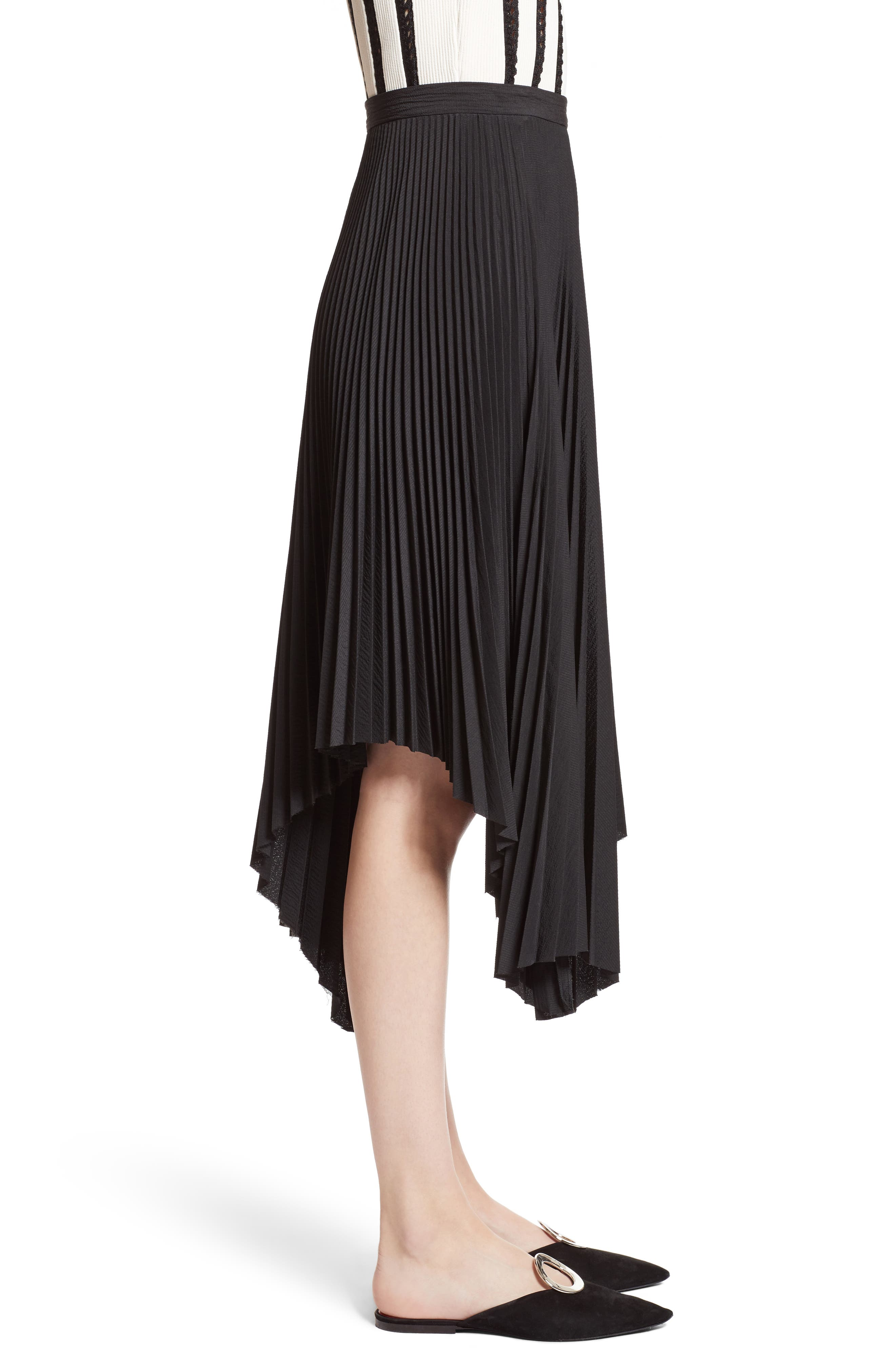 Pleated Handkerchief Hem Skirt,                             Alternate thumbnail 4, color,                             Black