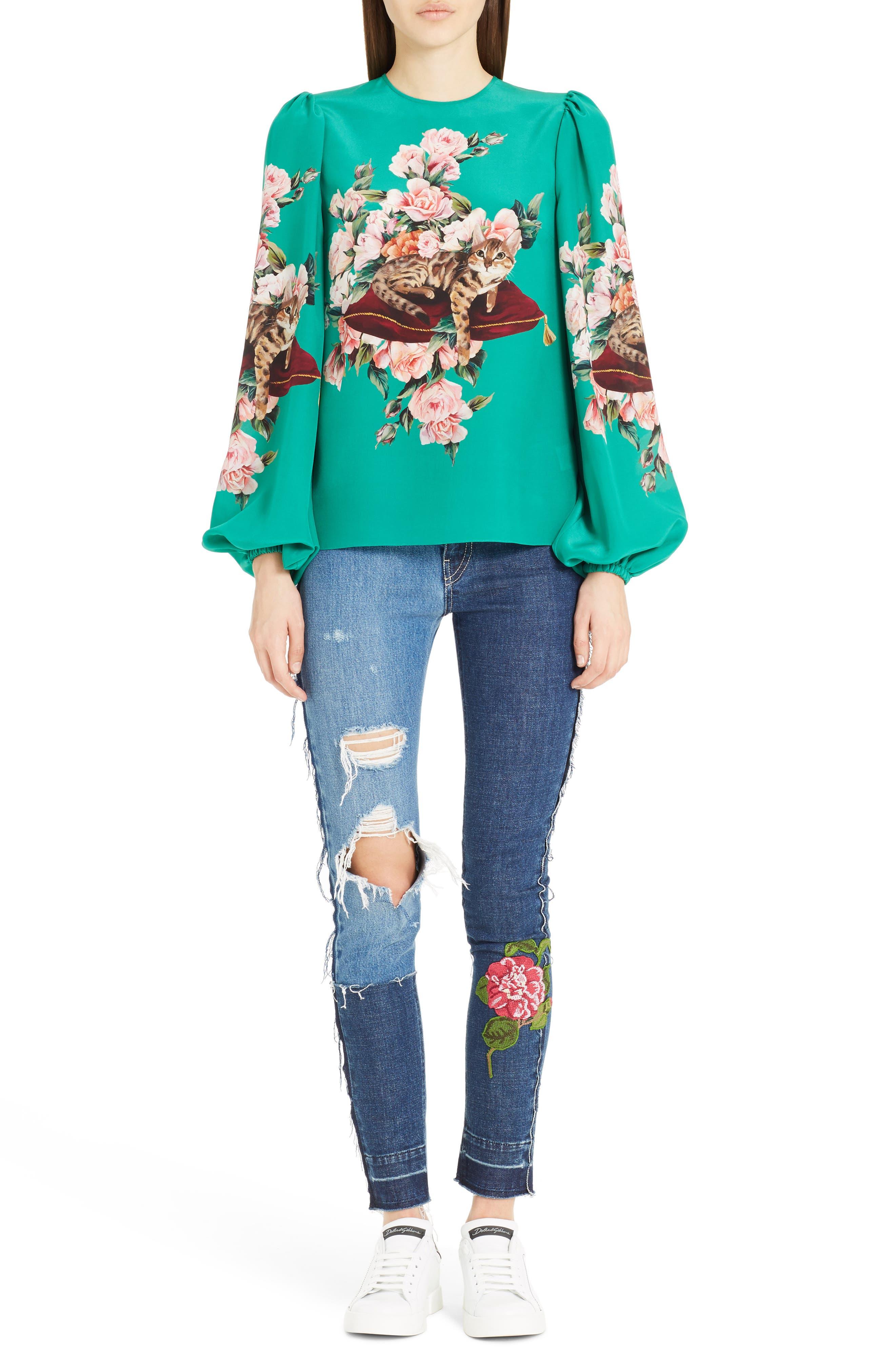 Alternate Image 6  - Dolce&Gabbana Cat Print Silk Bell Sleeve Blouse