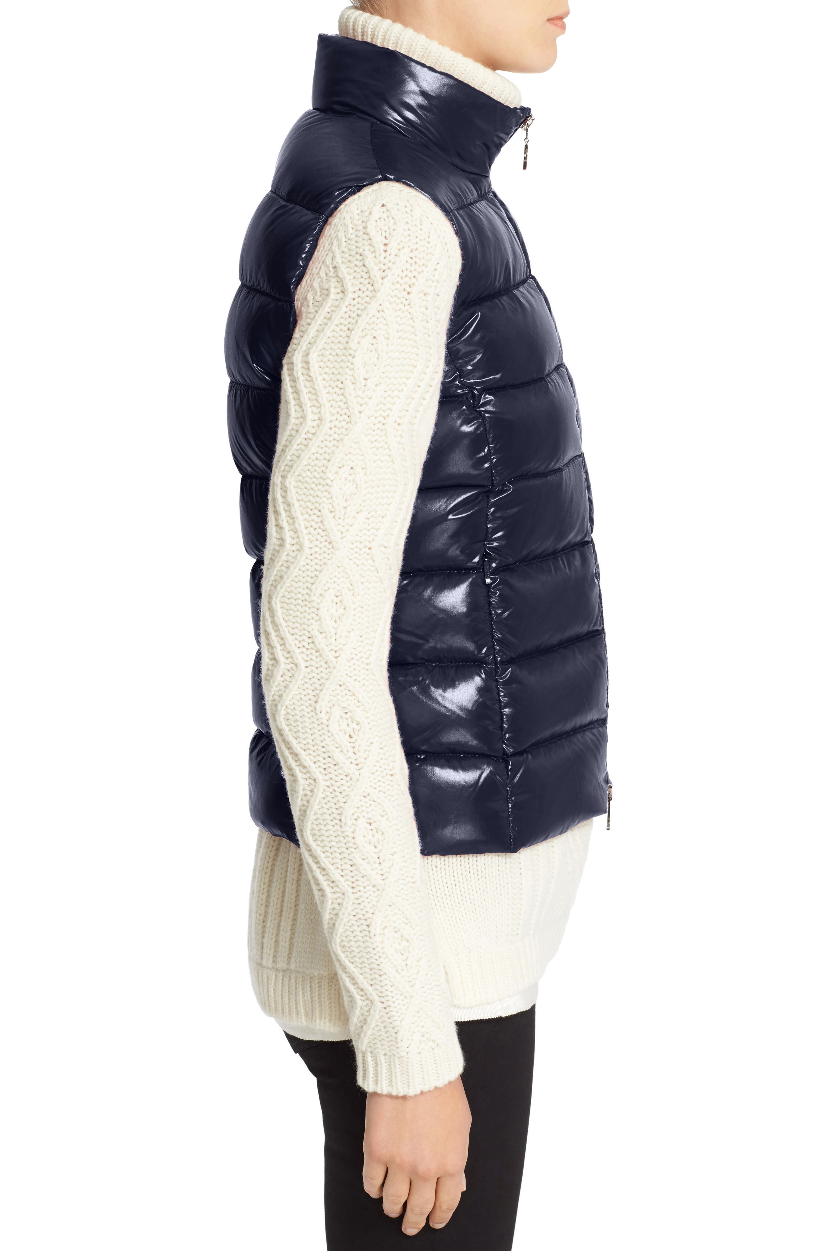 Ghany Water Resistant Shiny Nylon Down Puffer Vest,                             Alternate thumbnail 3, color,                             Navy