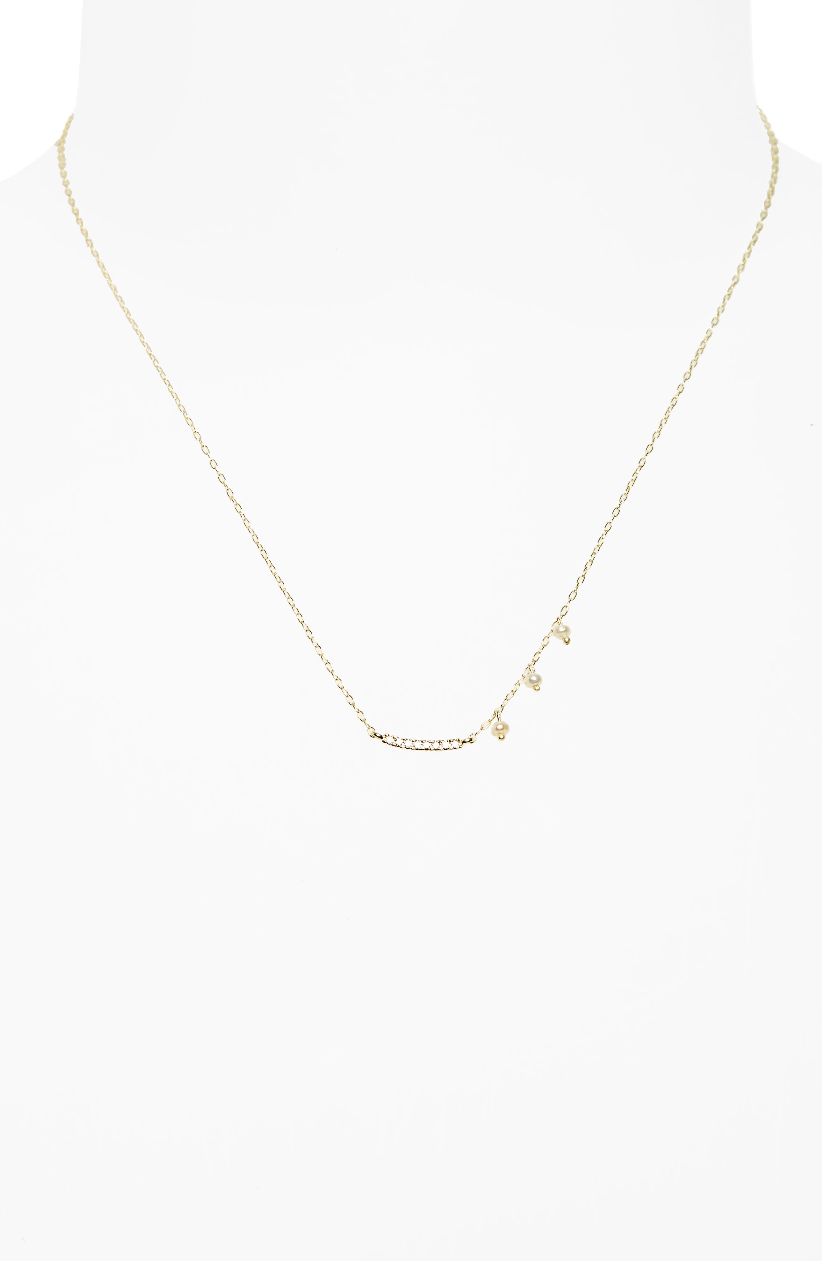 Diamond & Pearl Bar Pendant Necklace,                             Main thumbnail 1, color,                             Yellow Gold