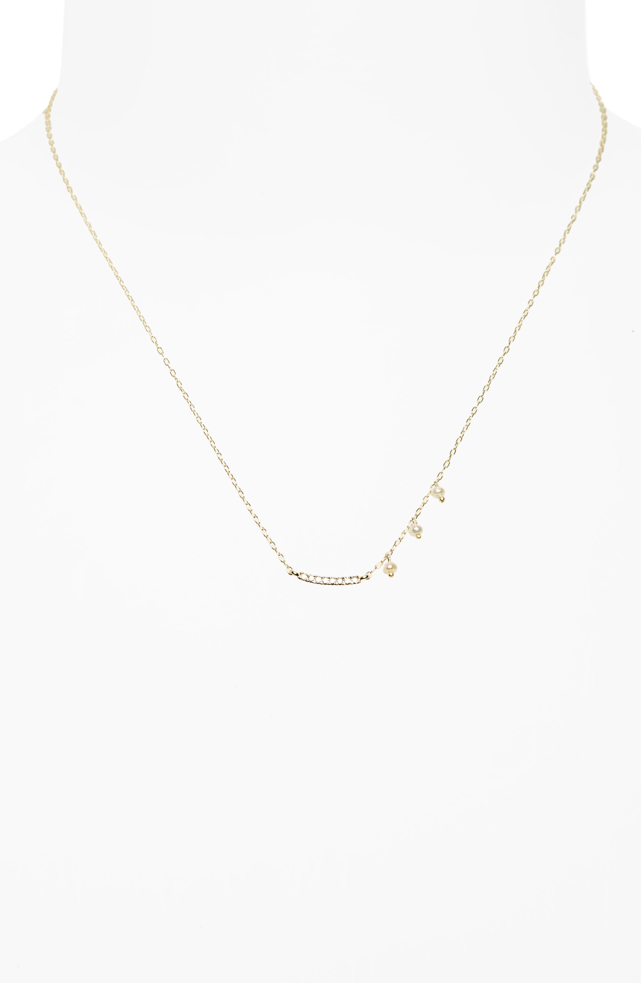 Meira T Diamond & Pearl Bar Pendant Necklace