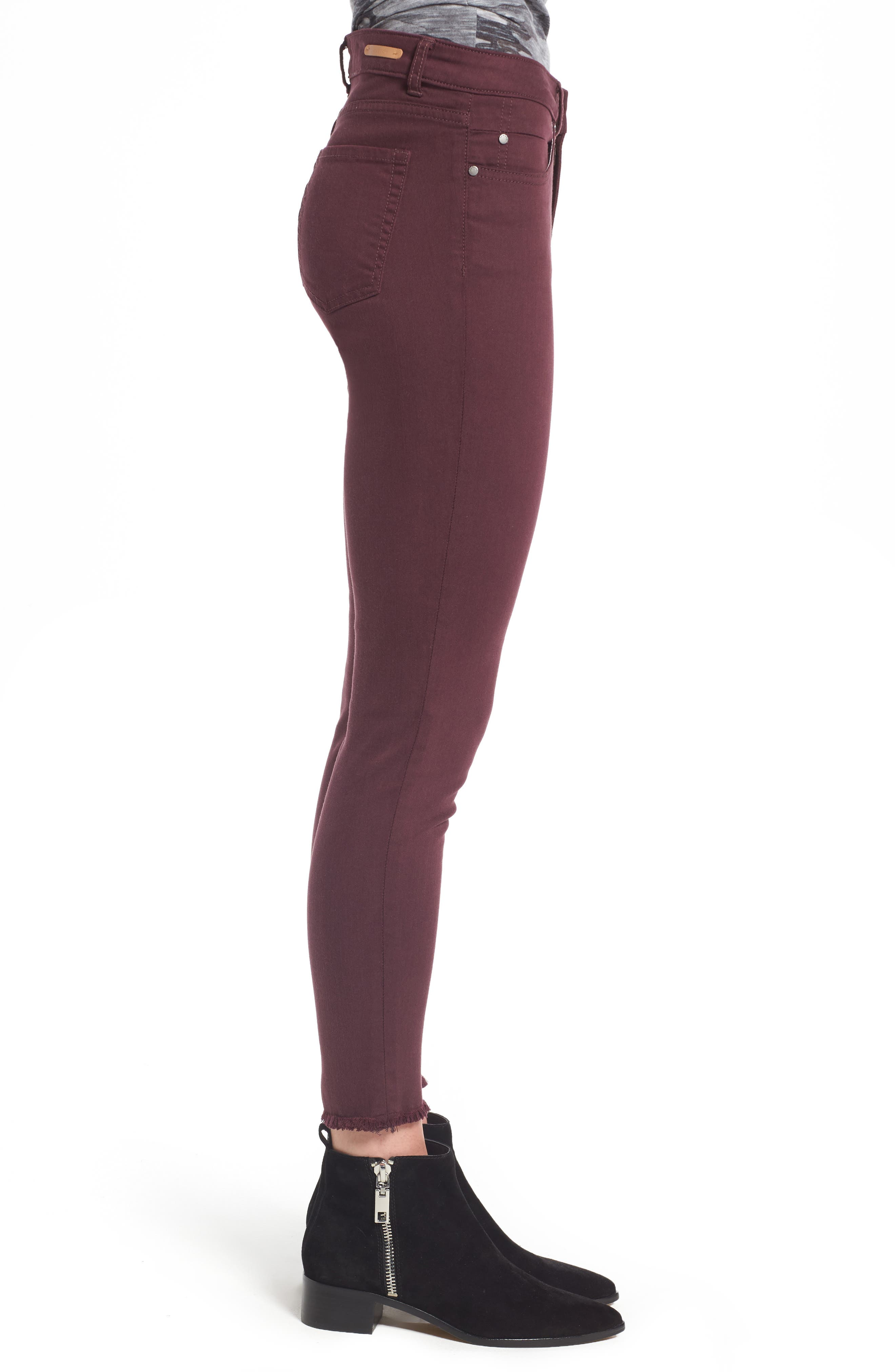 Alternate Image 3  - Caslon® Frayed Hem Skinny Ankle Jeans (Regular & Petite)