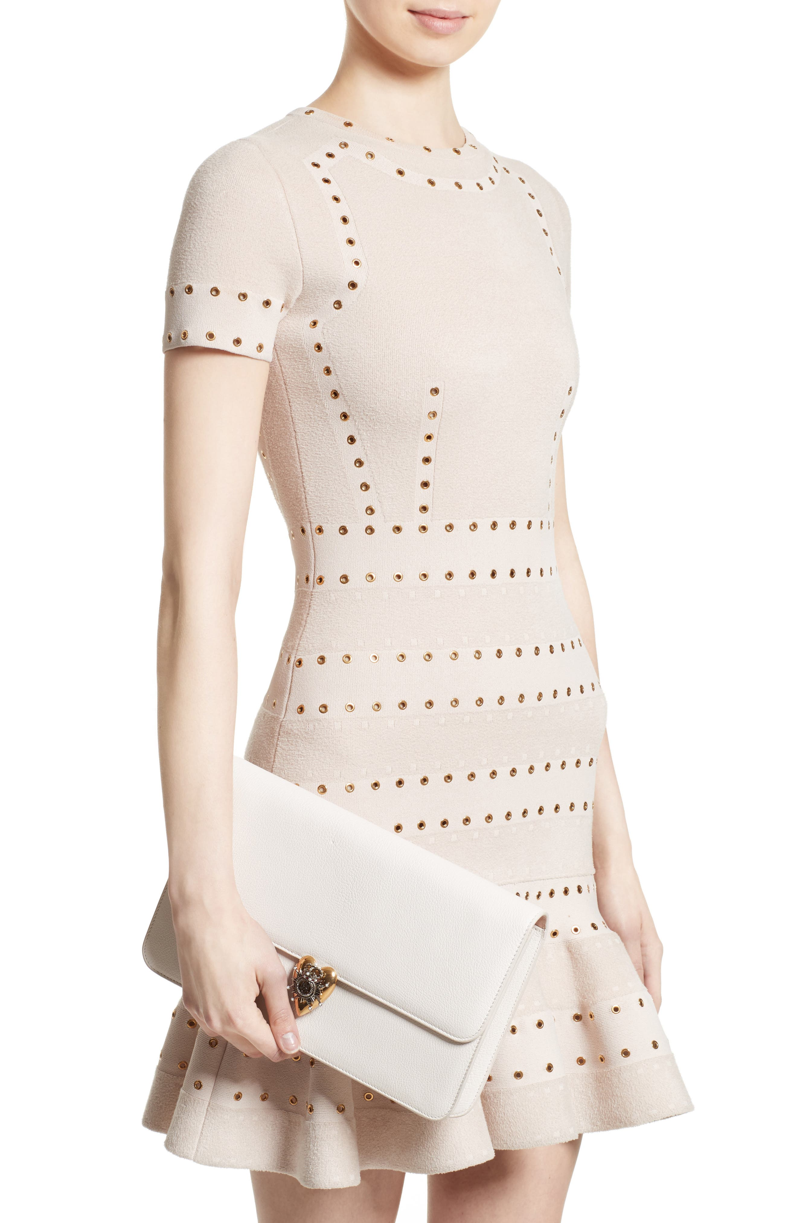 Heart Leather Clutch,                             Alternate thumbnail 2, color,                             Off White