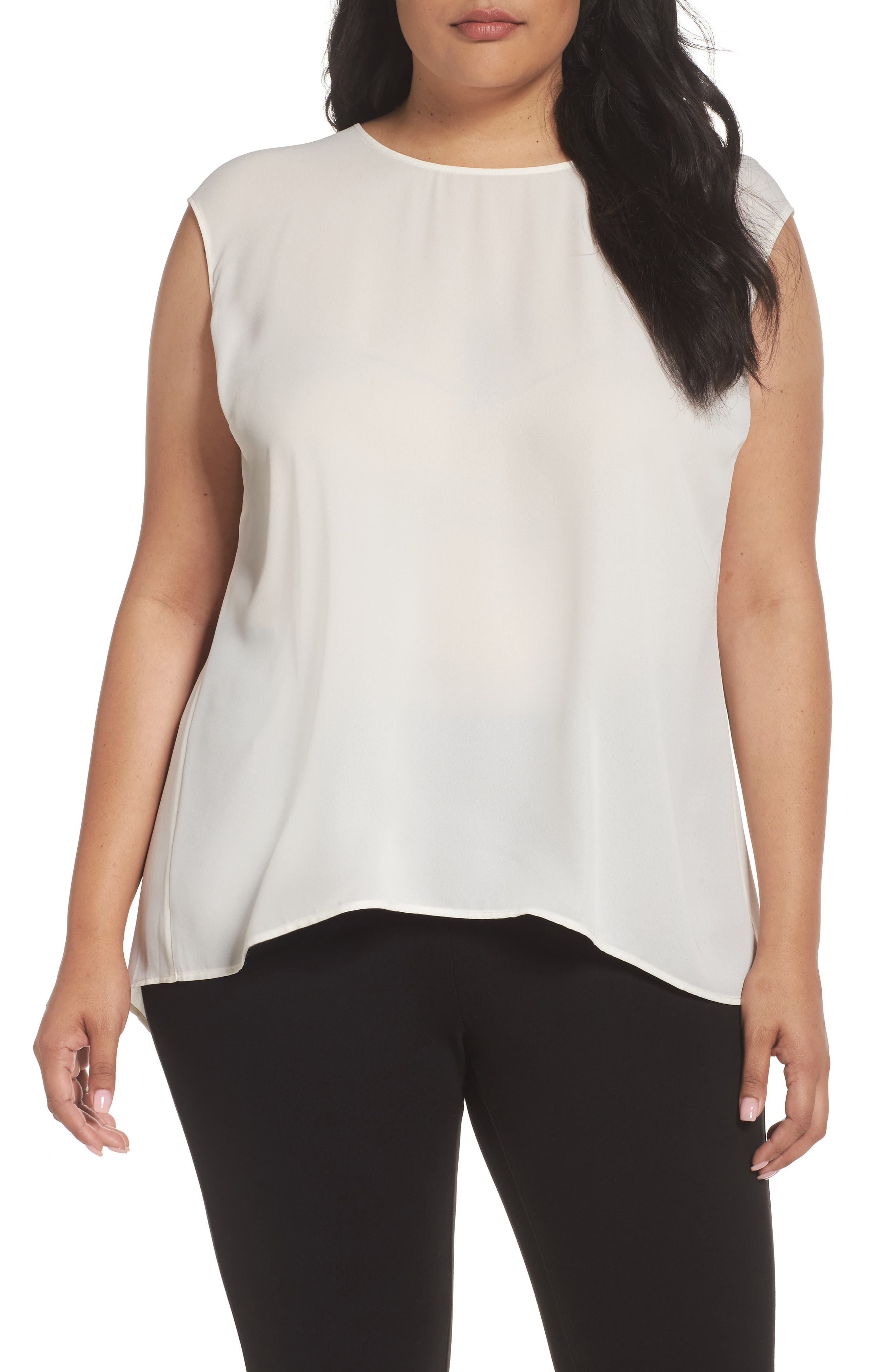 Sejour Cap Sleeve Pleat Back Top (Plus Size)