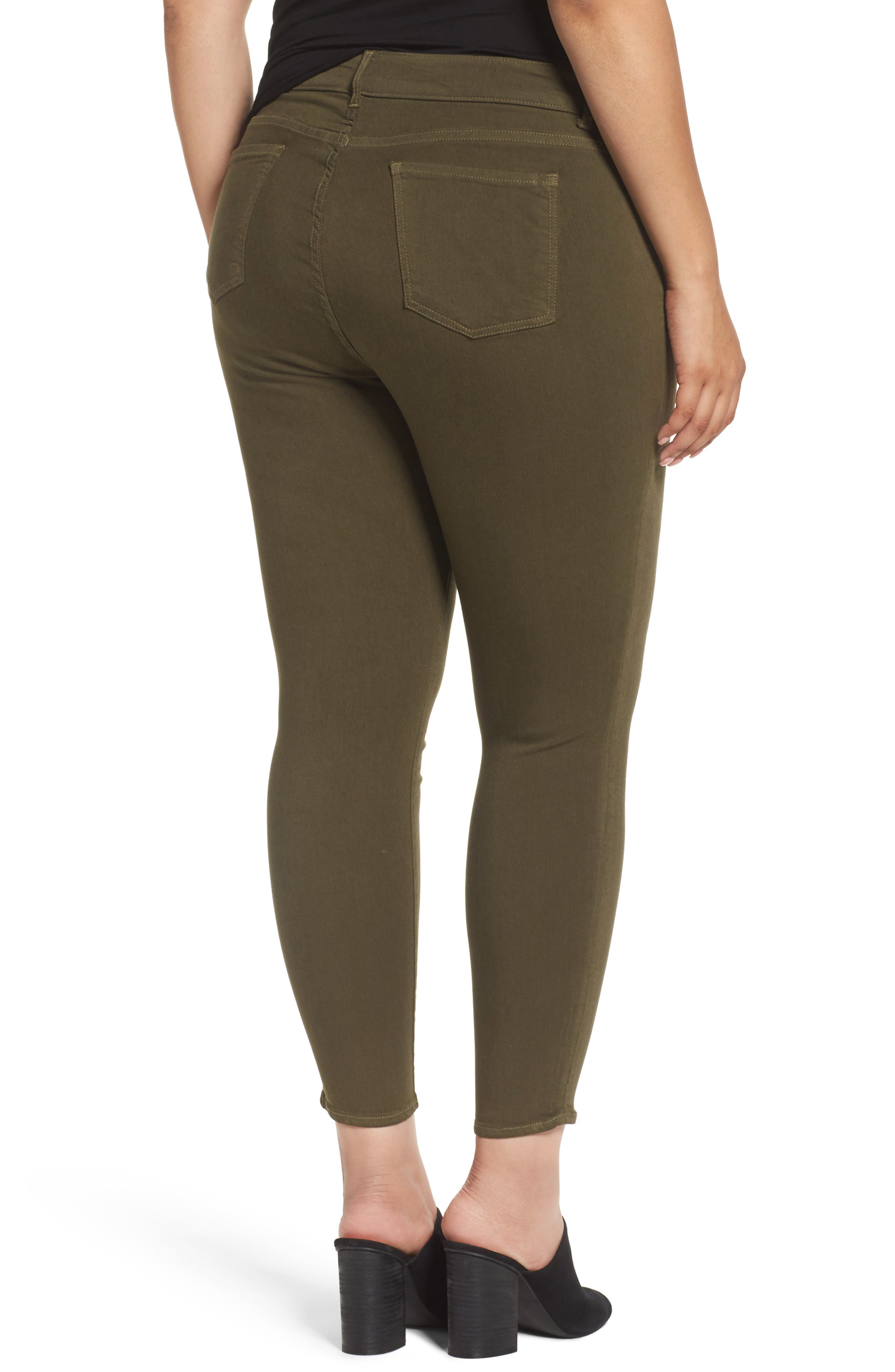 Donna Colored Stretch Skinny Jeans,                             Alternate thumbnail 2, color,                             Olive