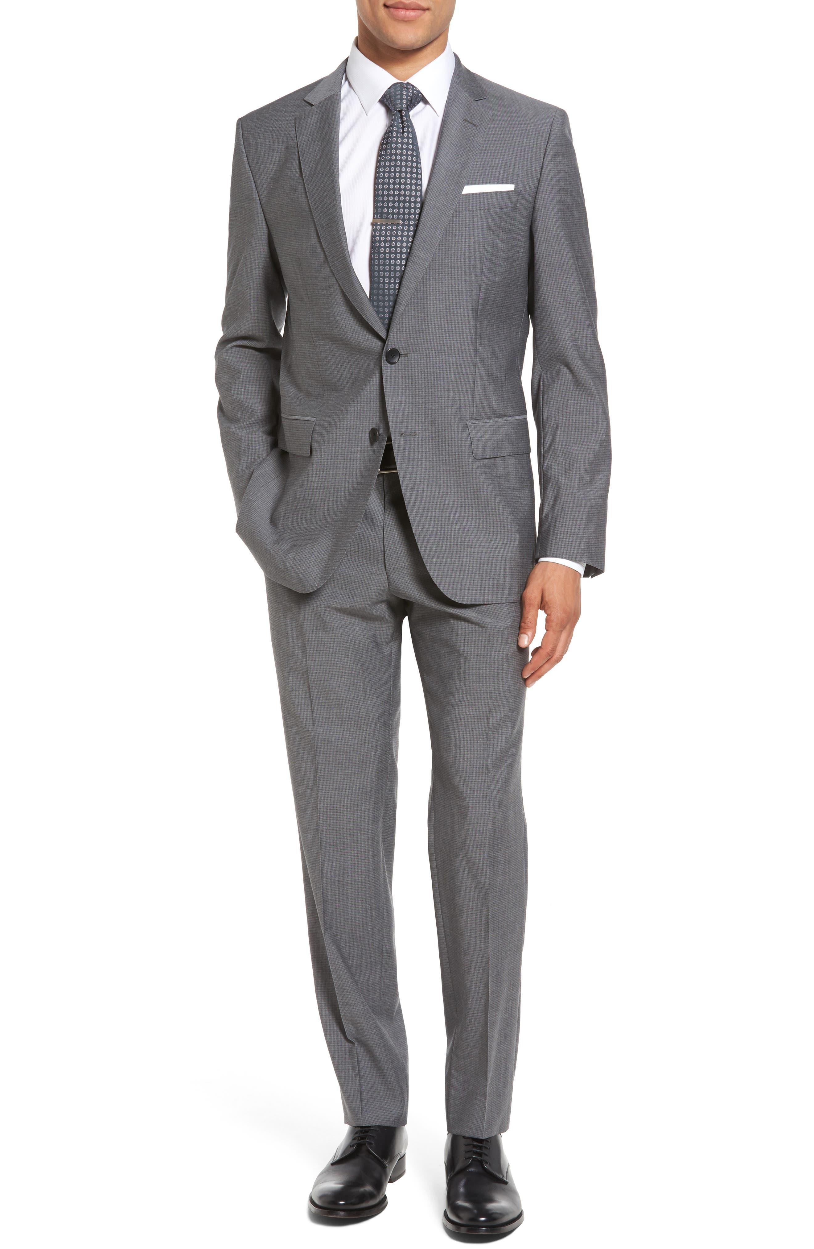 BOSS Huge/Genius 3 Trim Fit Check Wool Suit