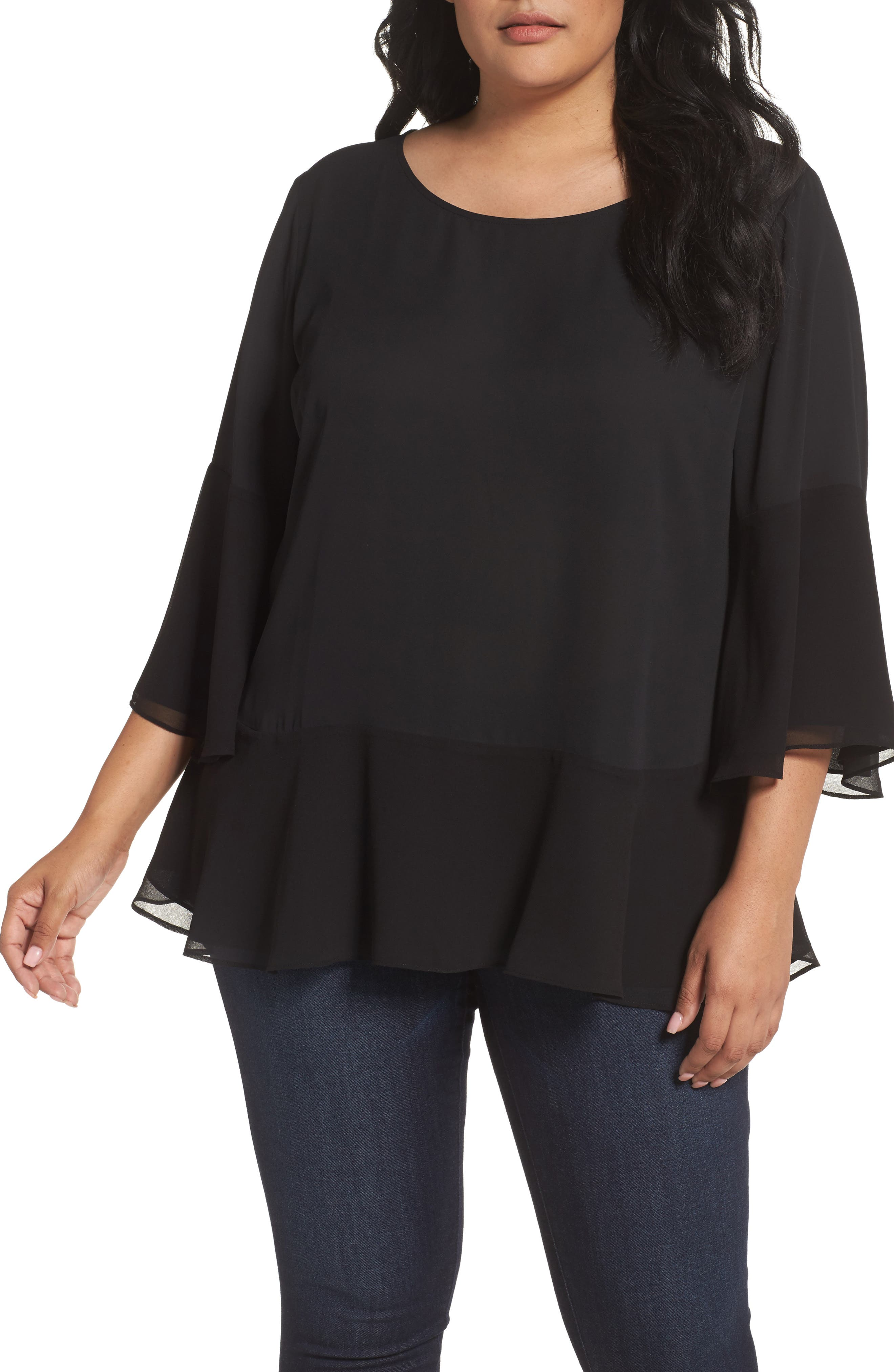Flare Sleeve Double Layer Top,                         Main,                         color, Black