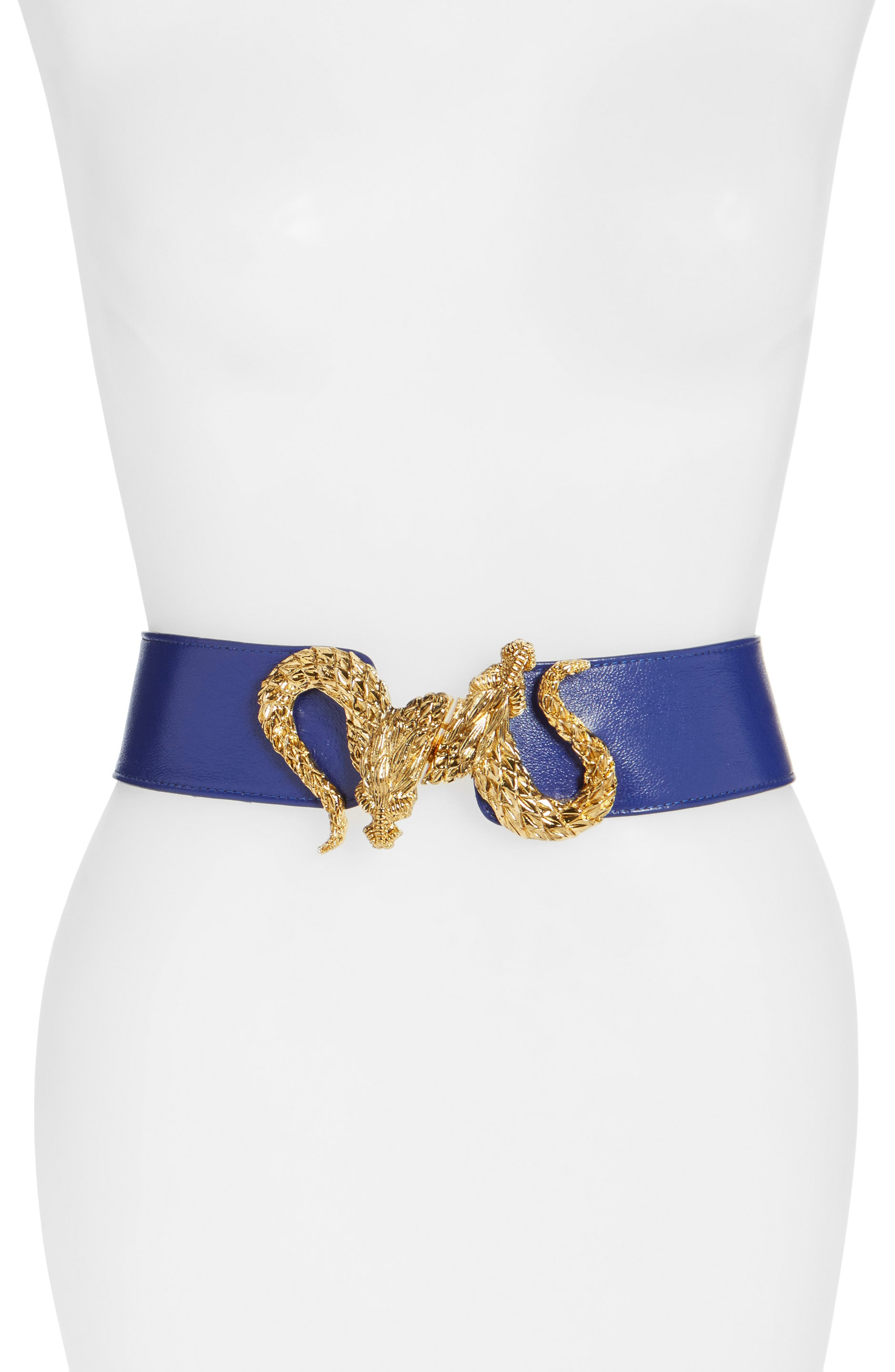 'Penelope - Dragon' Stretch Belt,                             Main thumbnail 1, color,                             Blue