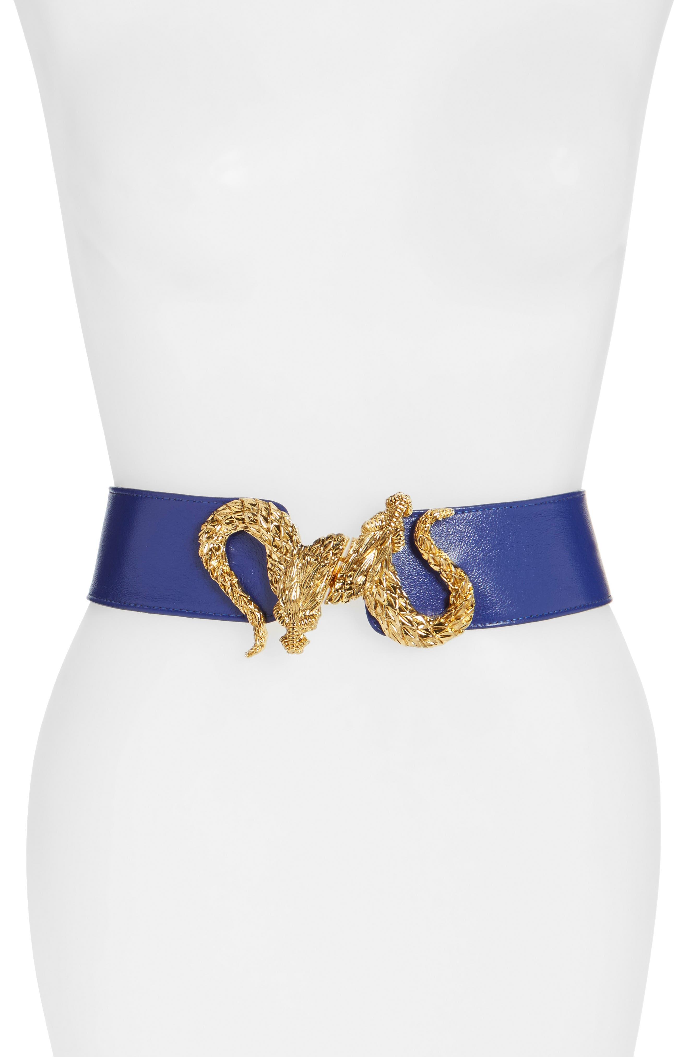 'Penelope - Dragon' Stretch Belt,                         Main,                         color, Blue