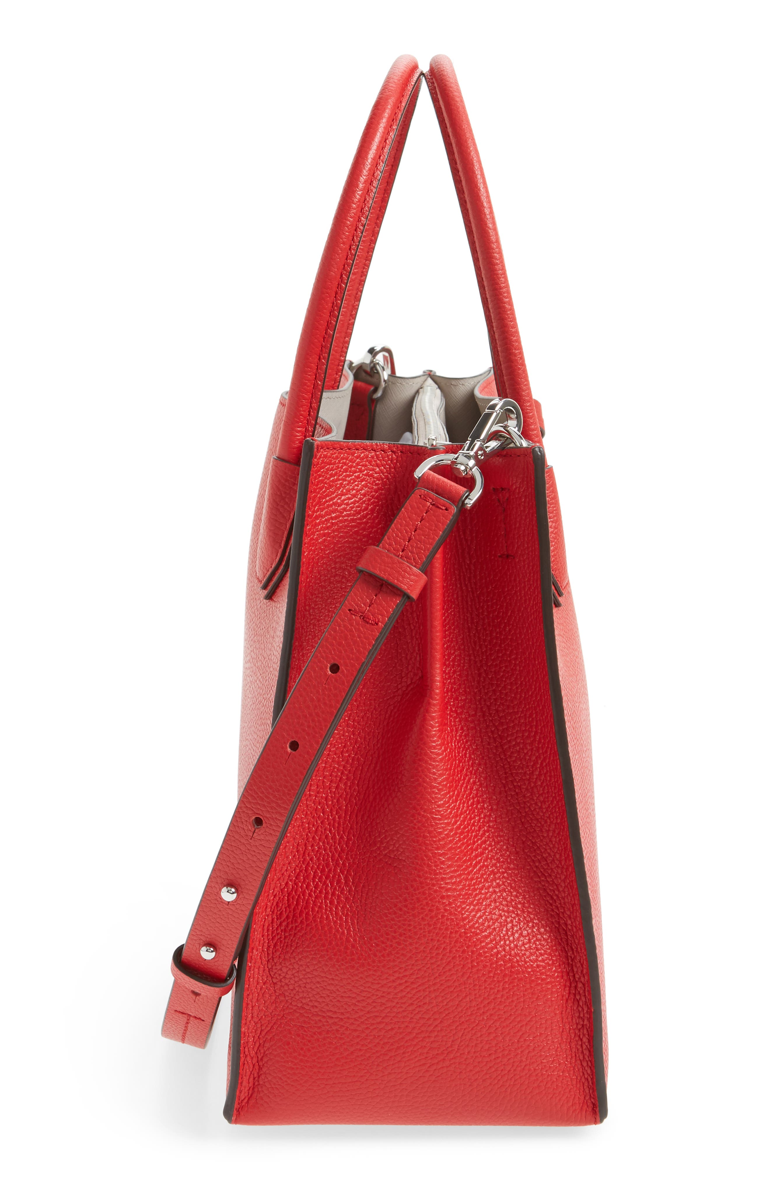 'Large Mercer' Tote,                             Alternate thumbnail 3, color,                             Bright Red