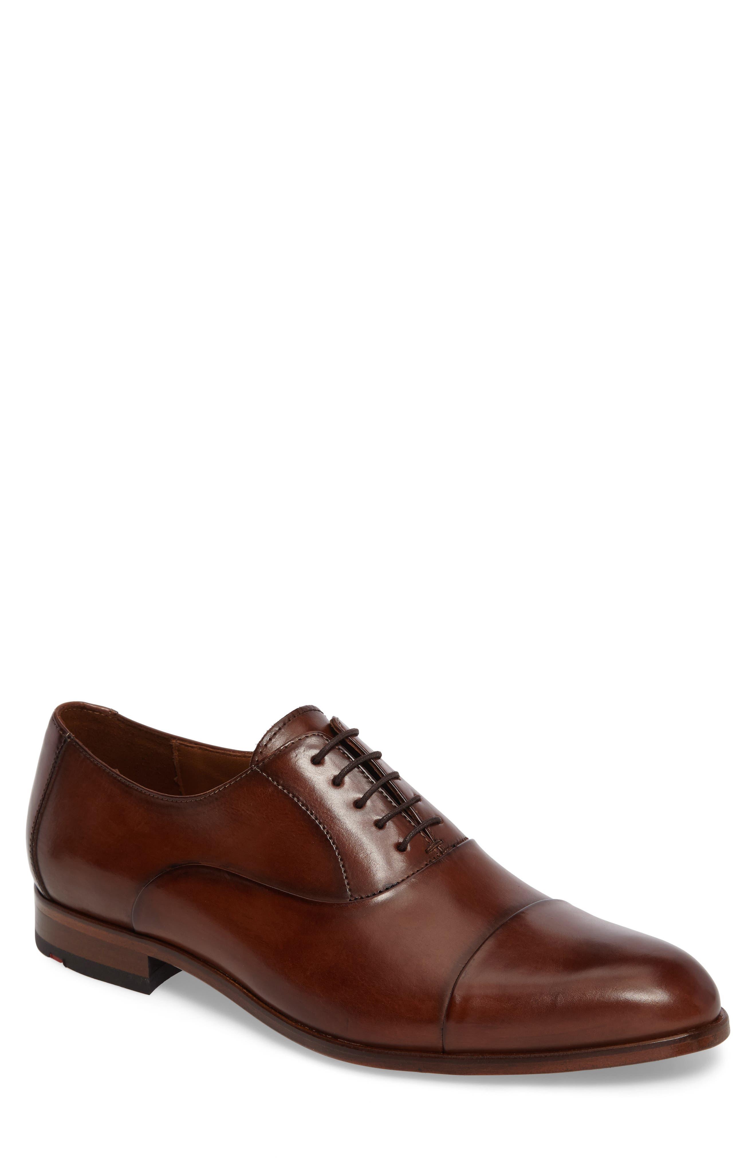 Malik Cap-Toe Oxford,                         Main,                         color, Brown Leather