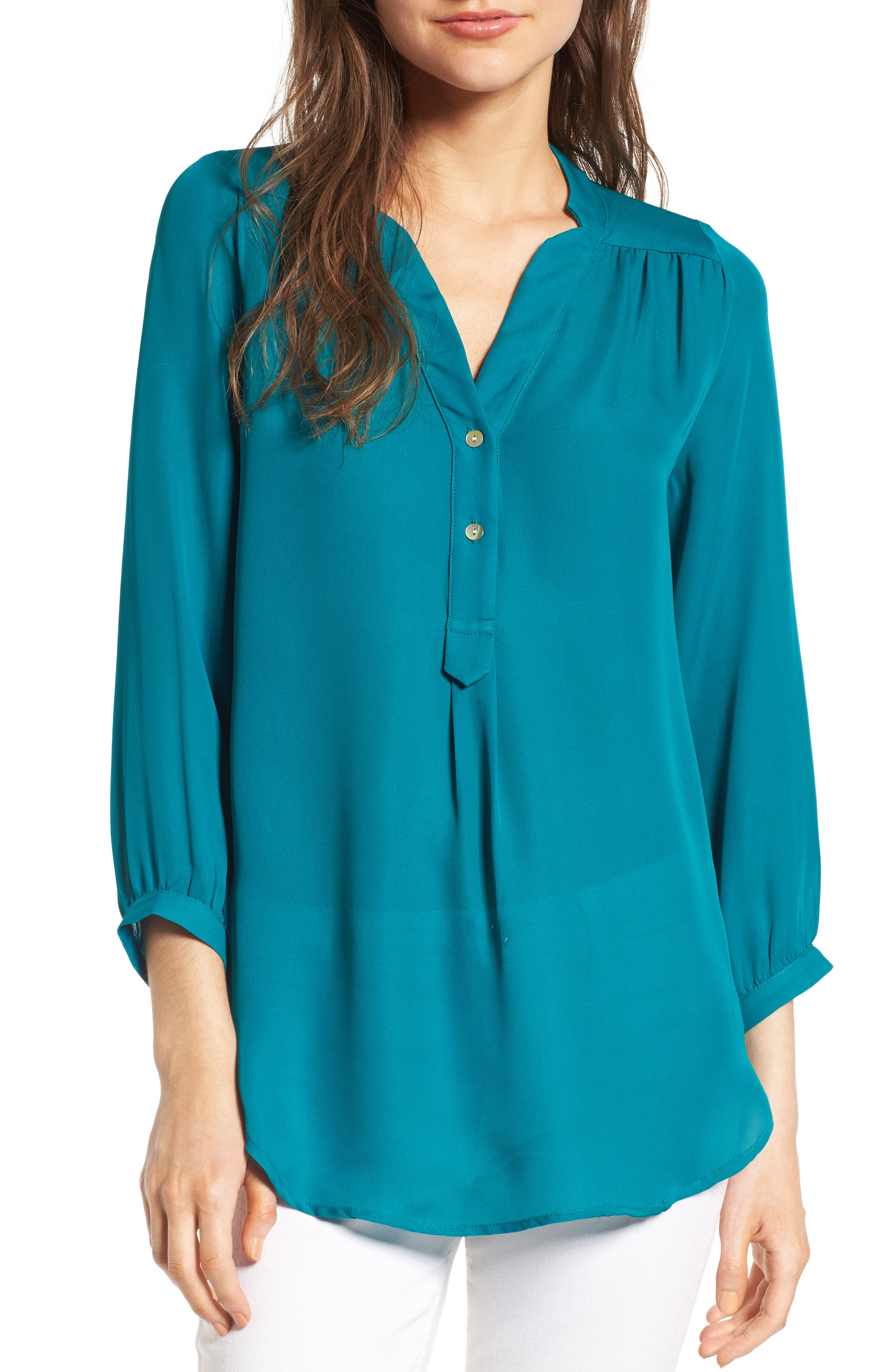 'Amy' Collarless Silk Blouse,                         Main,                         color, Bayou Blue
