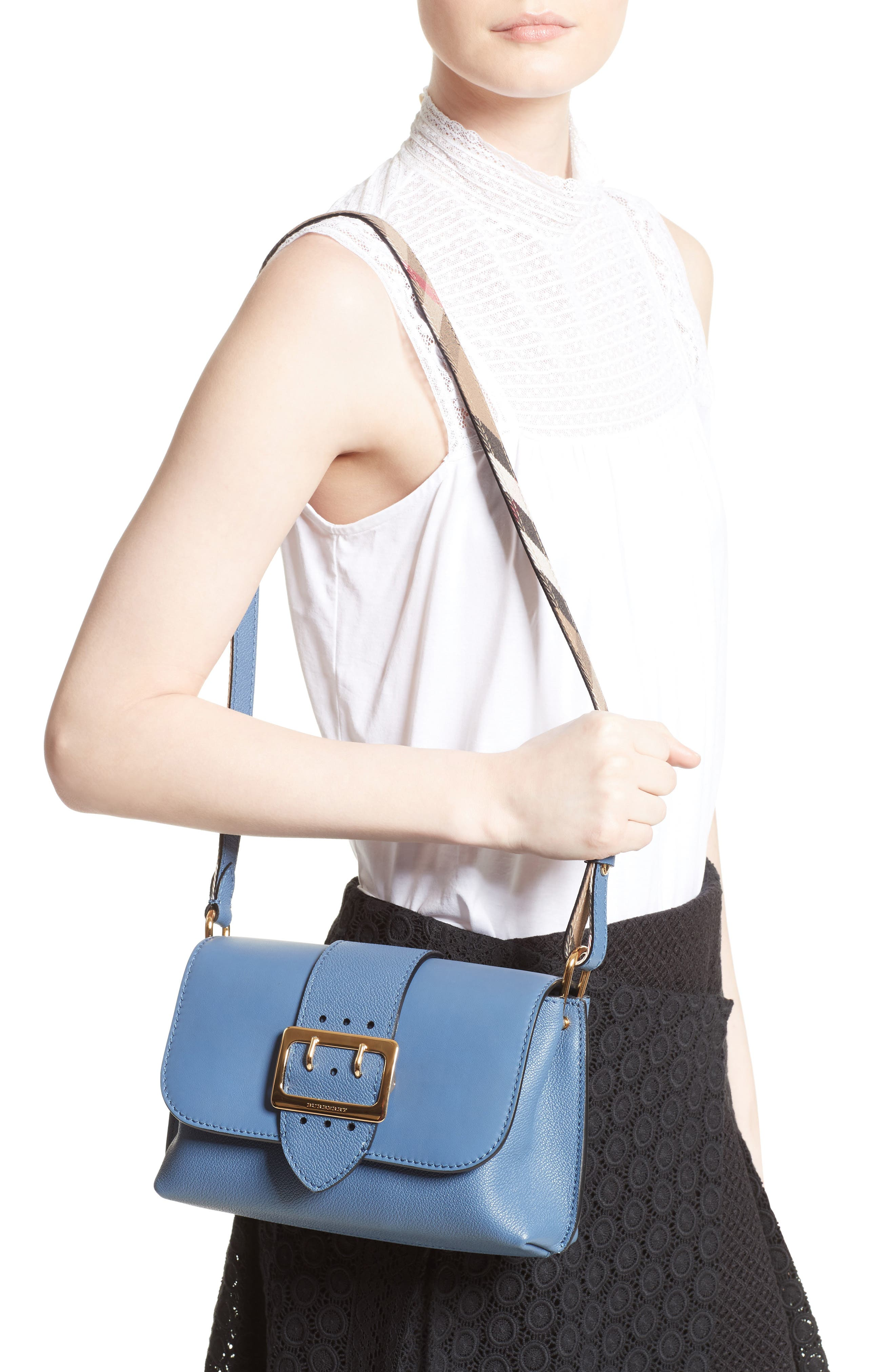 Small Buckle Leather Crossbody Bag,                             Alternate thumbnail 2, color,                             Slate Blue
