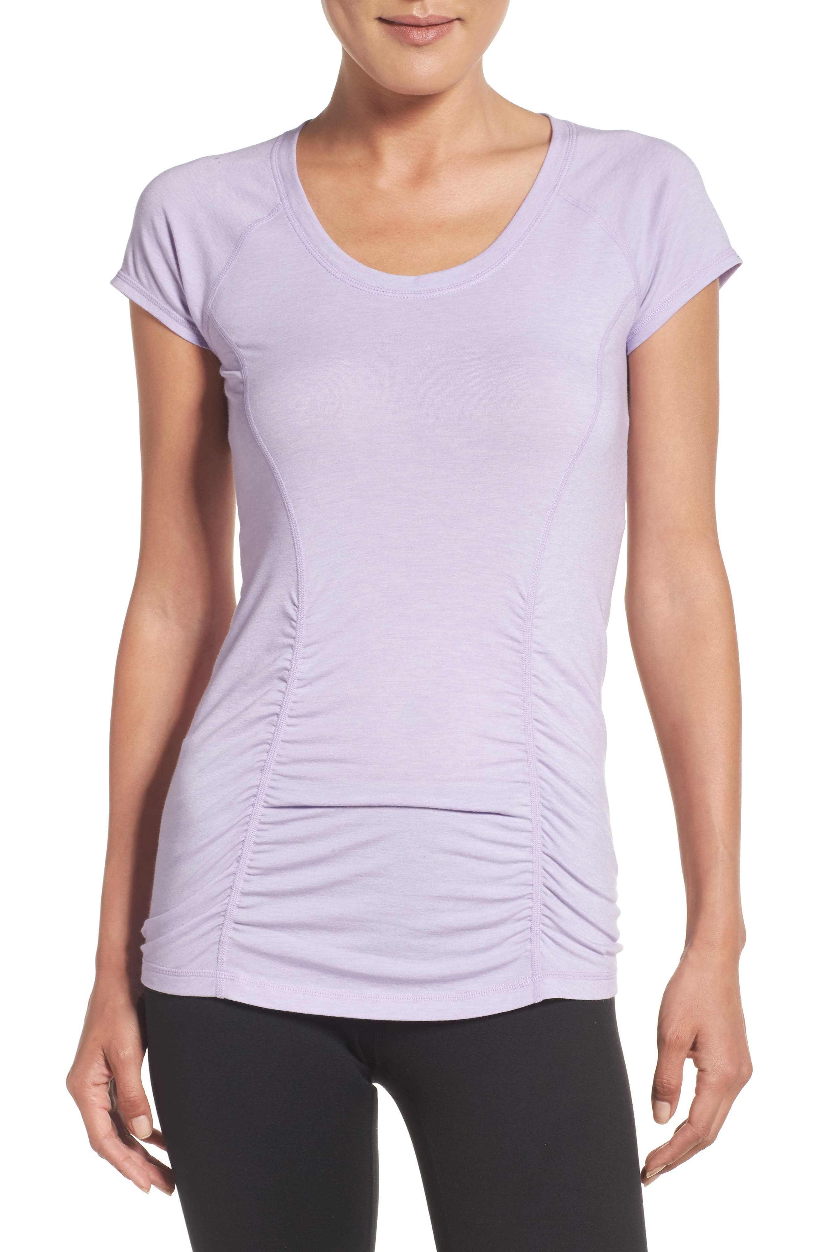 'Z 6' Ruched Tee,                         Main,                         color, Purple Spray