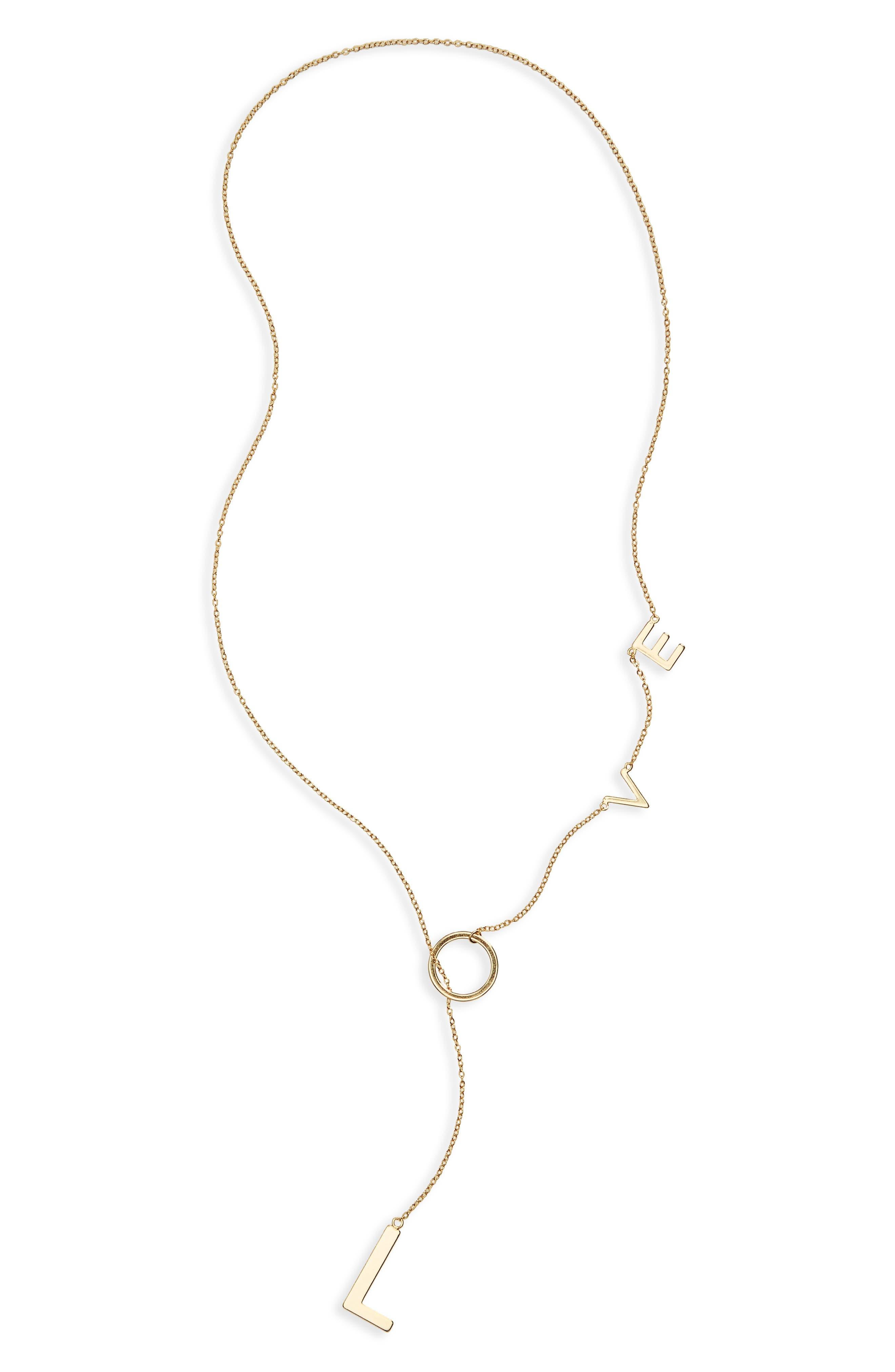 Adornia Love Lariat Necklace