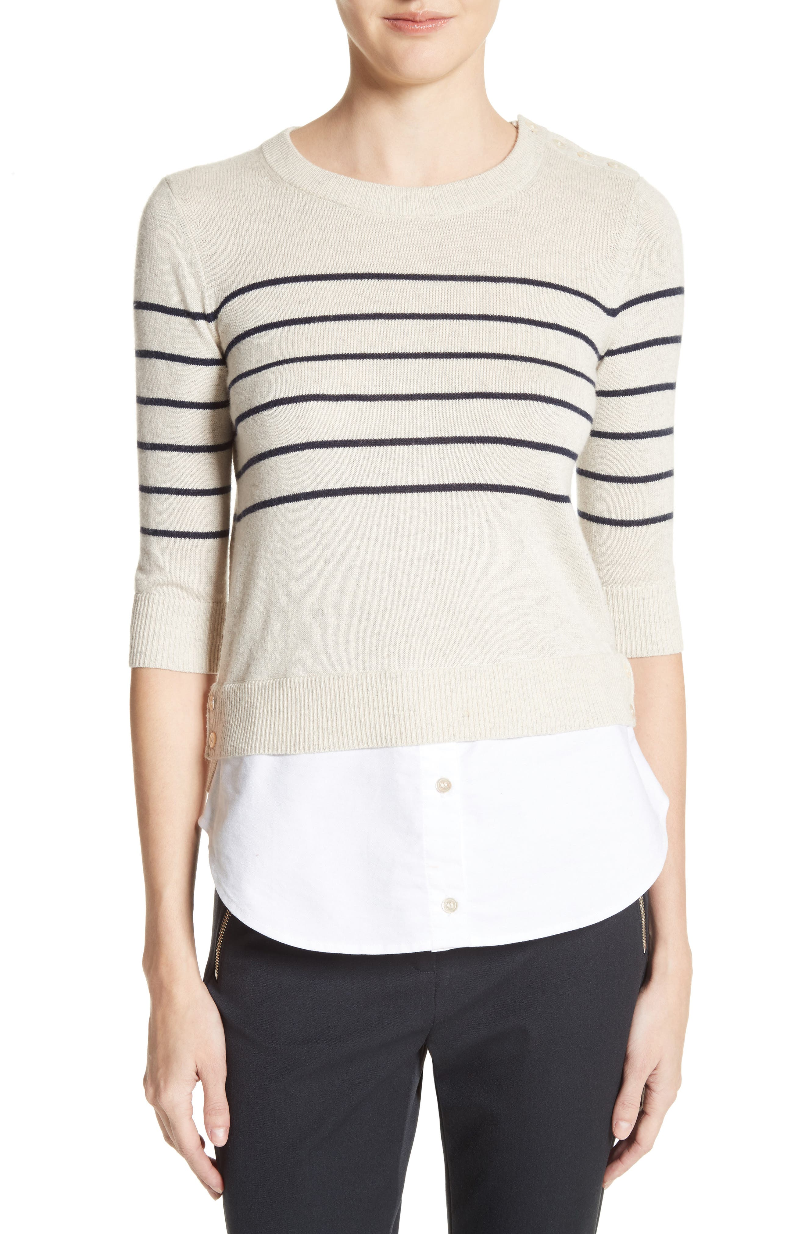 Veronica Beard Mariner Stripe Combo Sweater