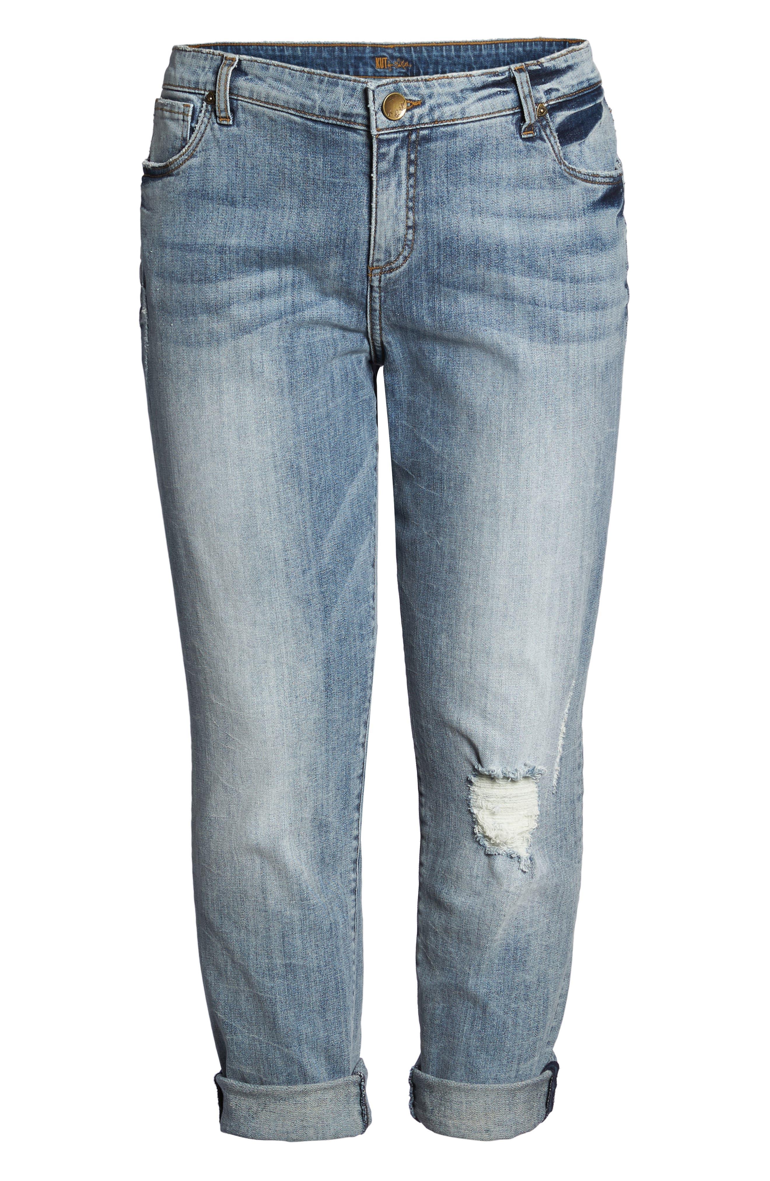 Alternate Image 6  - KUT from the Kloth Catherine Stretch Distressed Boyfriend Jeans (Regarded) (Plus Size)