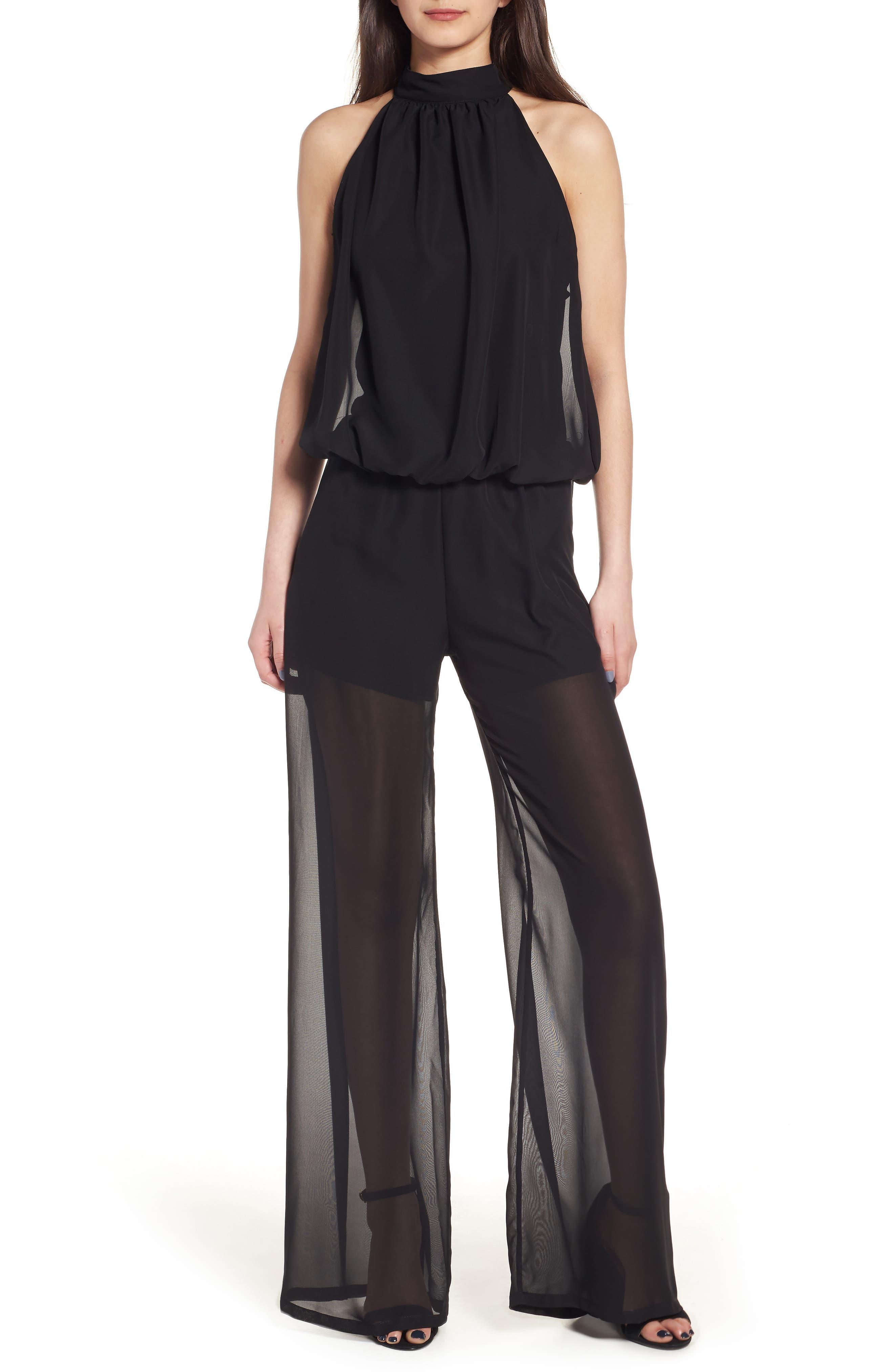 Halter Chiffon Jumpsuit,                         Main,                         color, Black