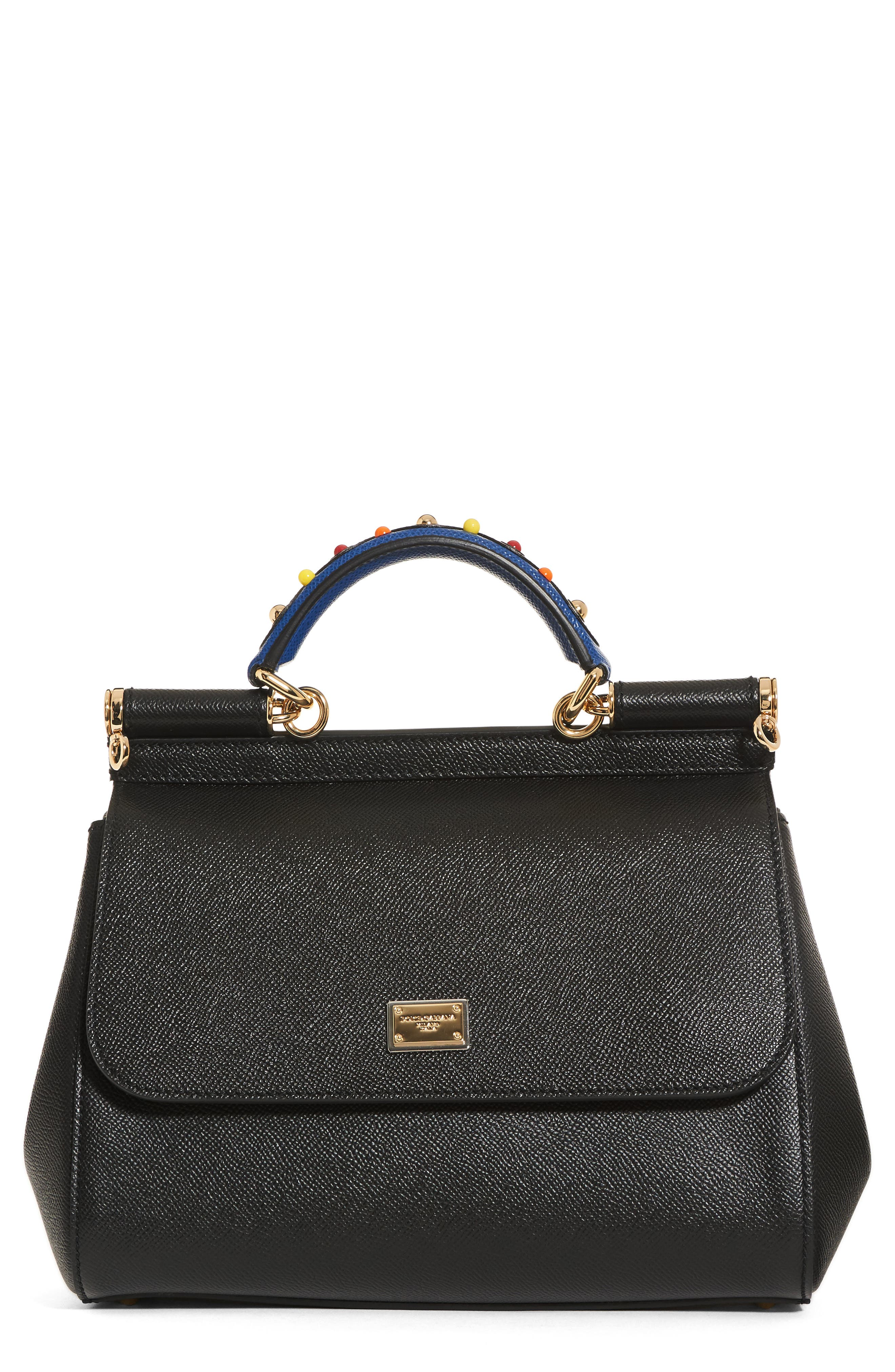 Small Miss Sicily Embellished Top Handle Leather Satchel,                         Main,                         color, Black