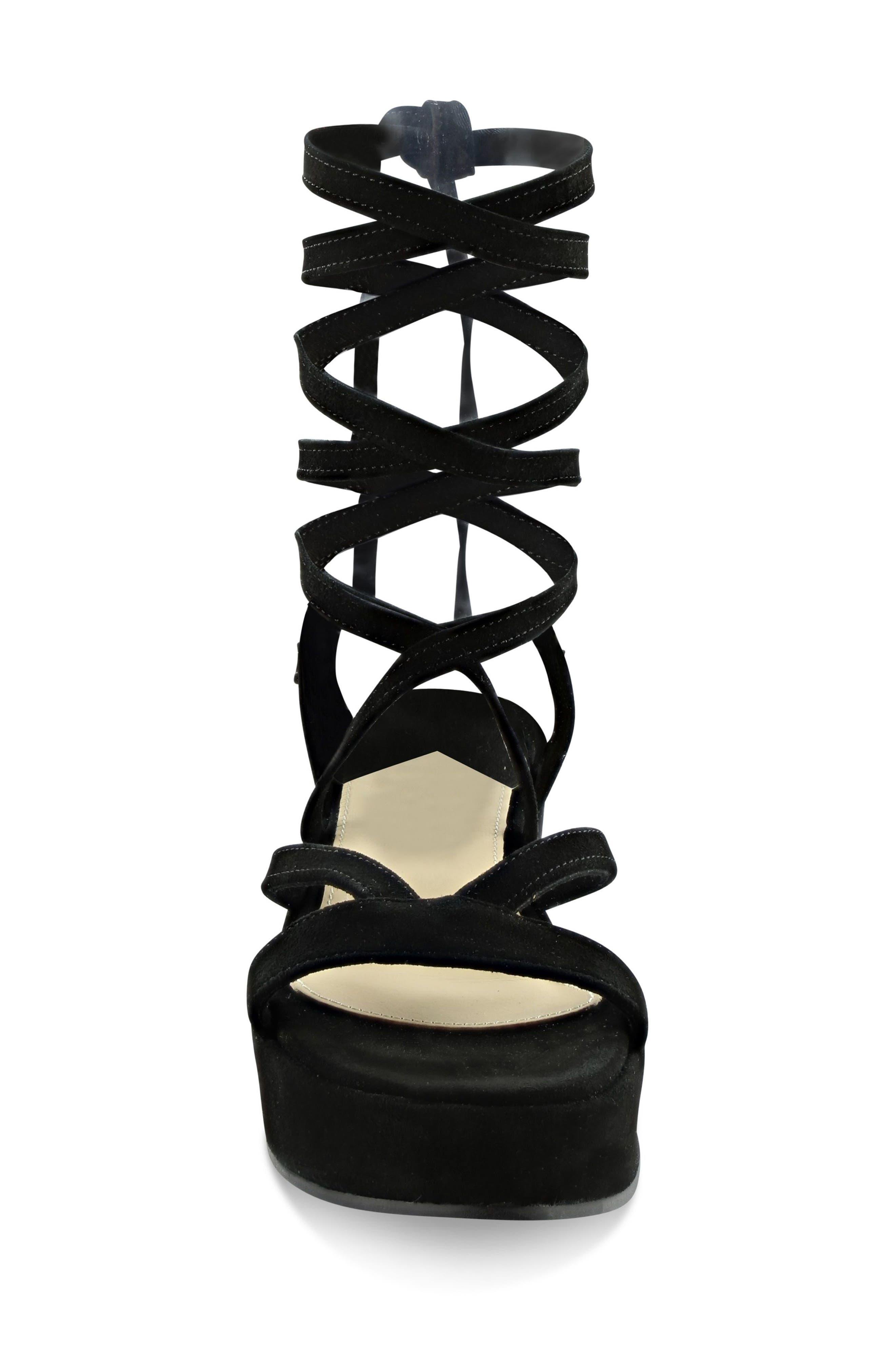 Keri Gladiator Platform Sandal,                             Alternate thumbnail 4, color,                             Black Suede