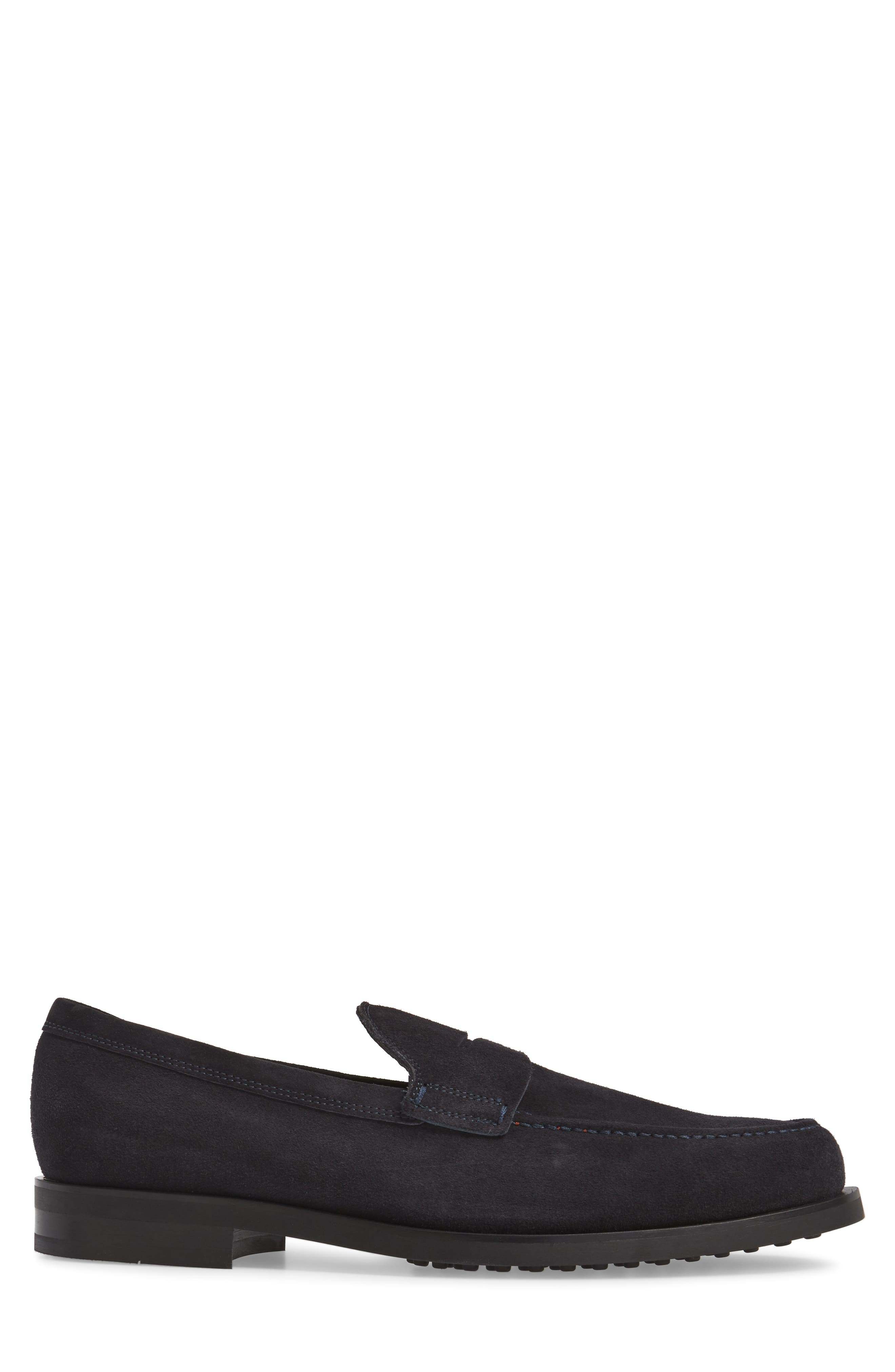 Penny Loafer,                             Alternate thumbnail 3, color,                             Navy Suede