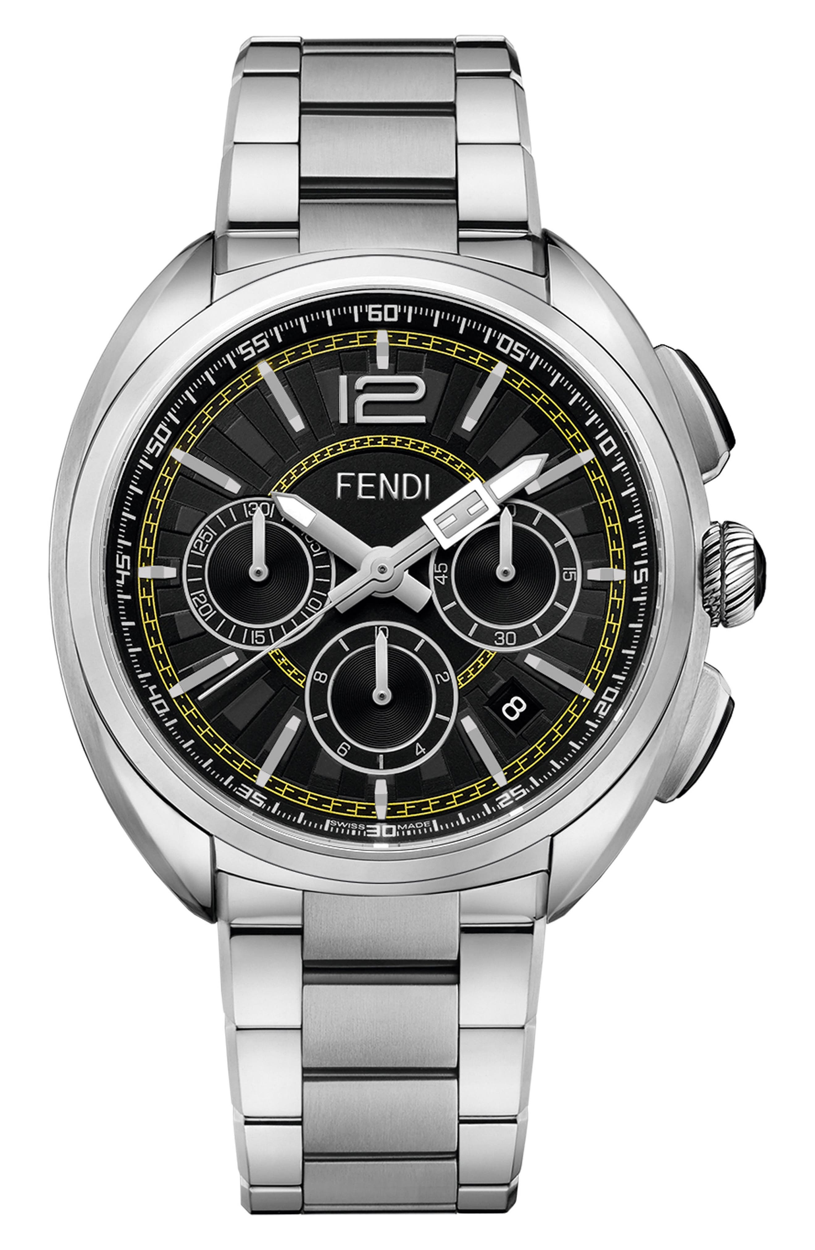 Momento Chronograph Bracelet Watch, 46mm,                             Main thumbnail 1, color,                             Silver/ Black/ Silver