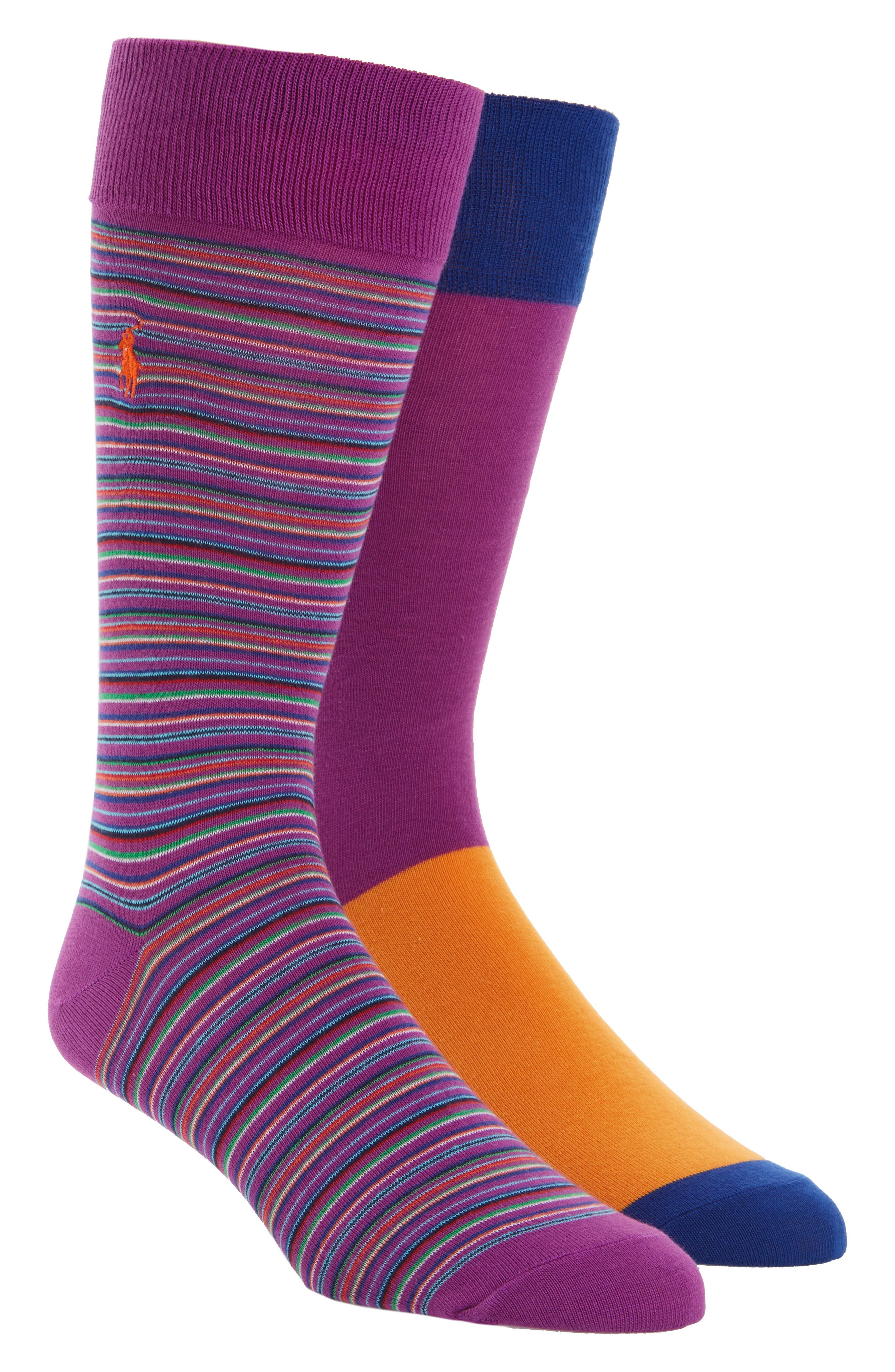 Stripe 2-Pack Socks,                             Main thumbnail 1, color,                             Purple/ Stripe Purple