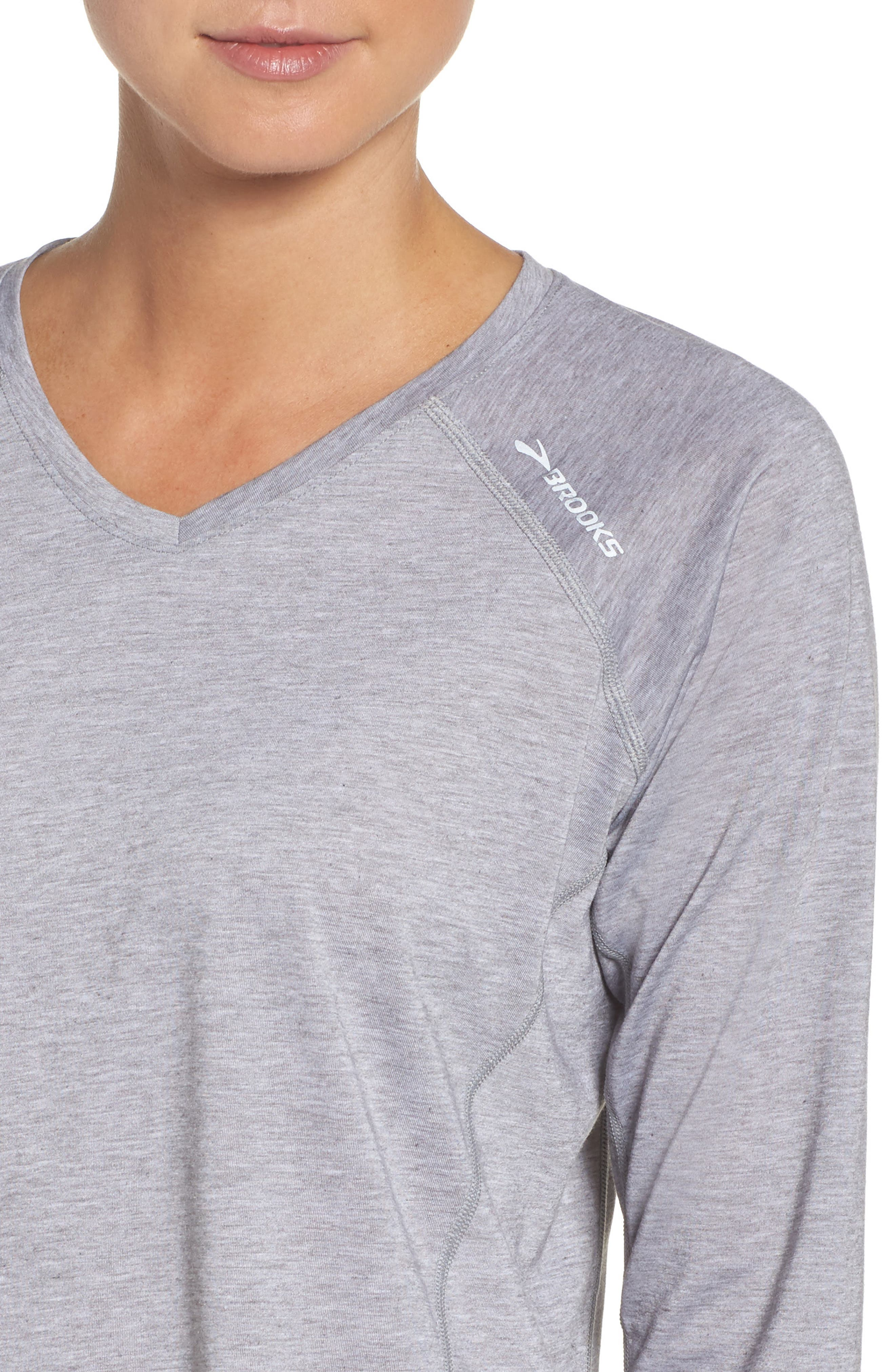 Distance Long Sleeve Running Tee,                             Alternate thumbnail 4, color,                             Heather Sterling