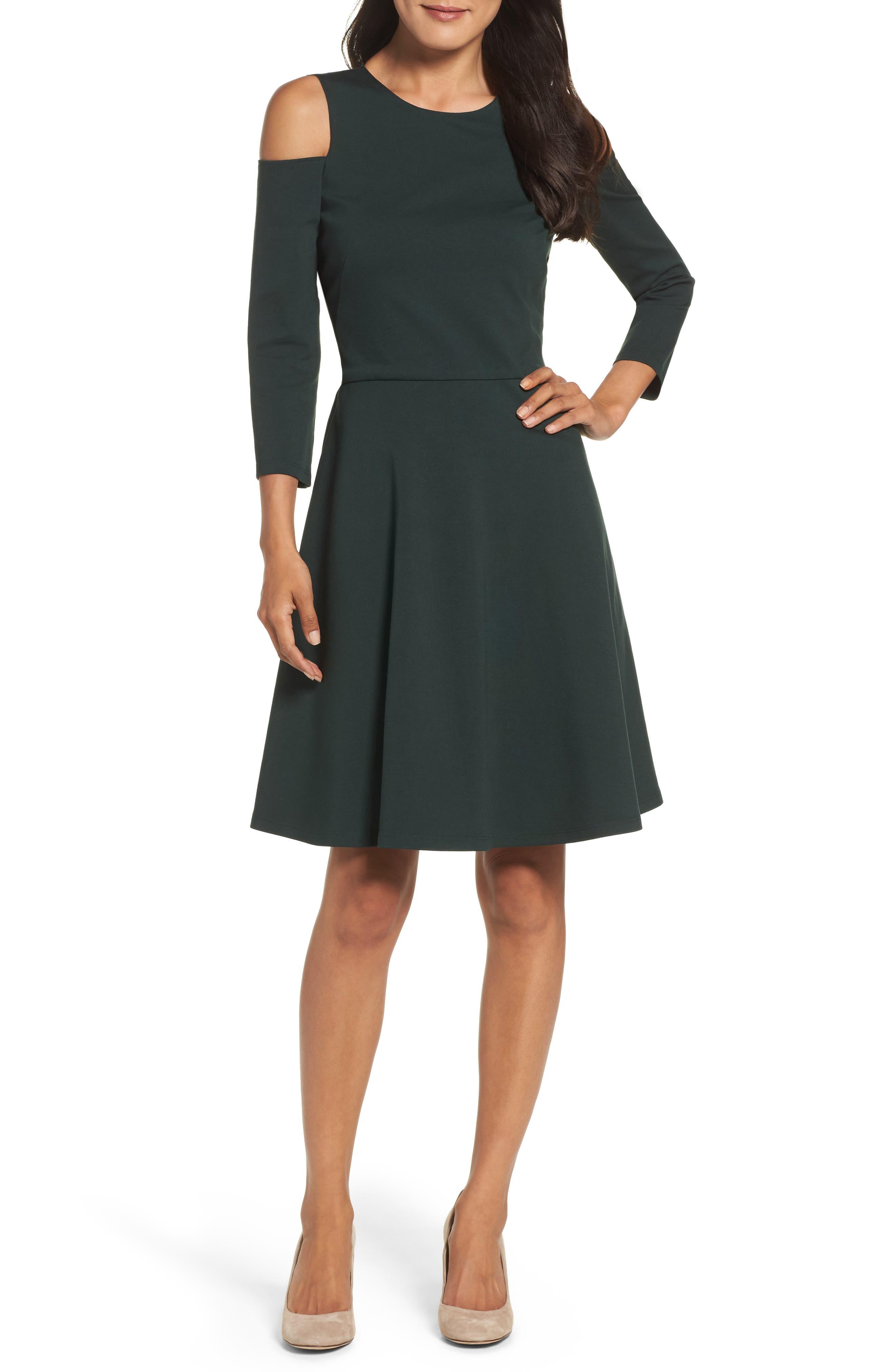 Eliza J Cold Shoulder Fit & Flare Dress (Regular & Petite)