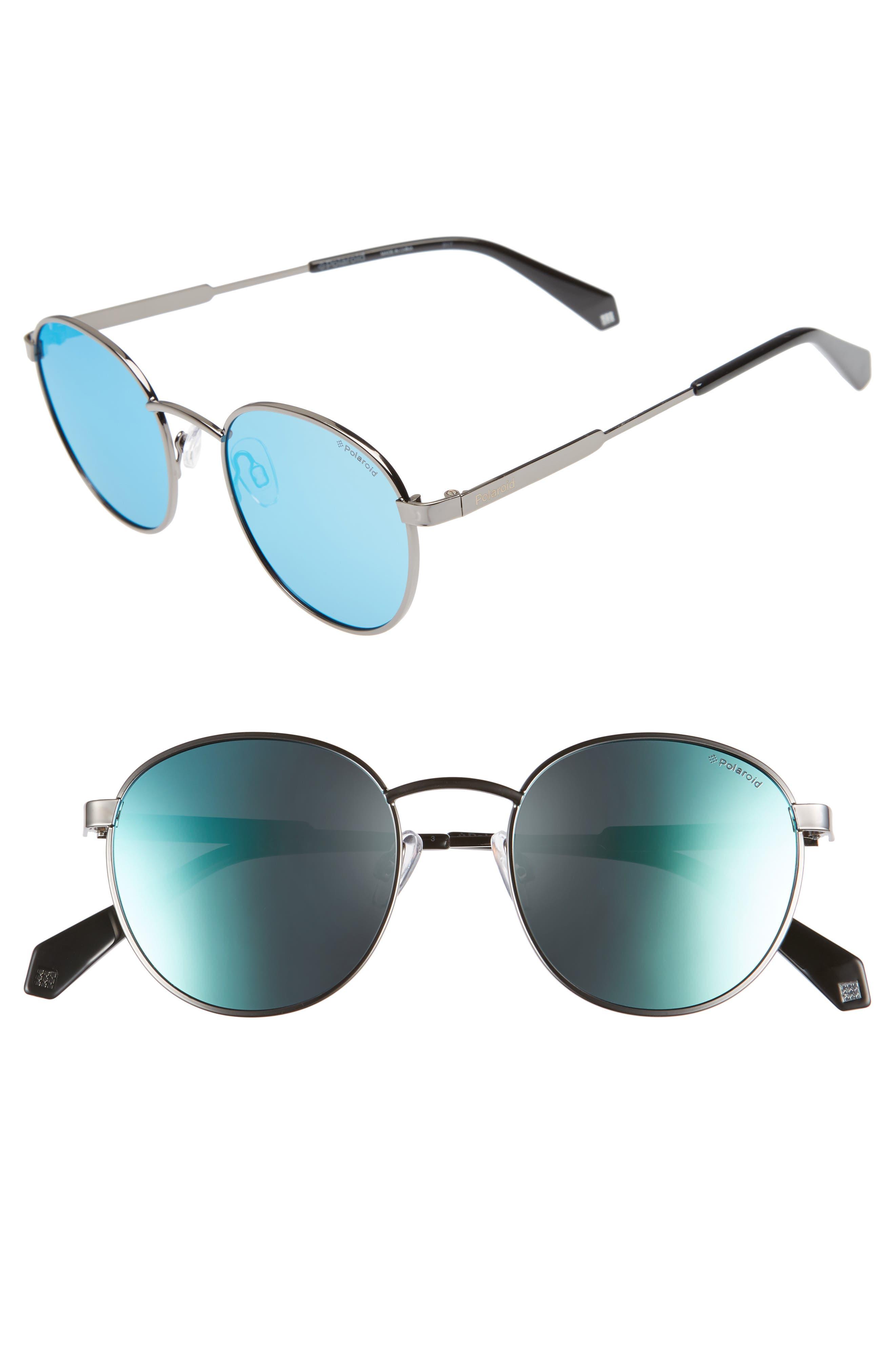 51mm Polarized Round Sunglasses,                         Main,                         color, Ruthenium