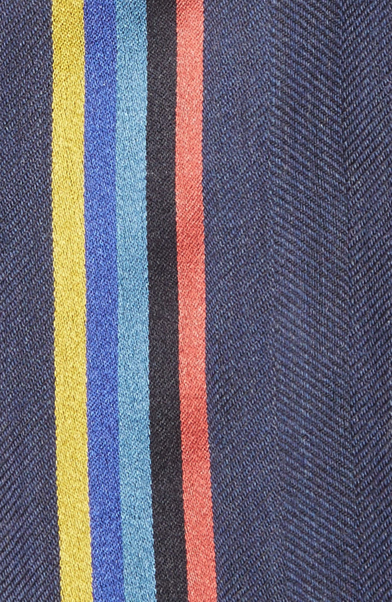 Central Stripe Wool & Silk Scarf,                             Alternate thumbnail 3, color,                             Blue