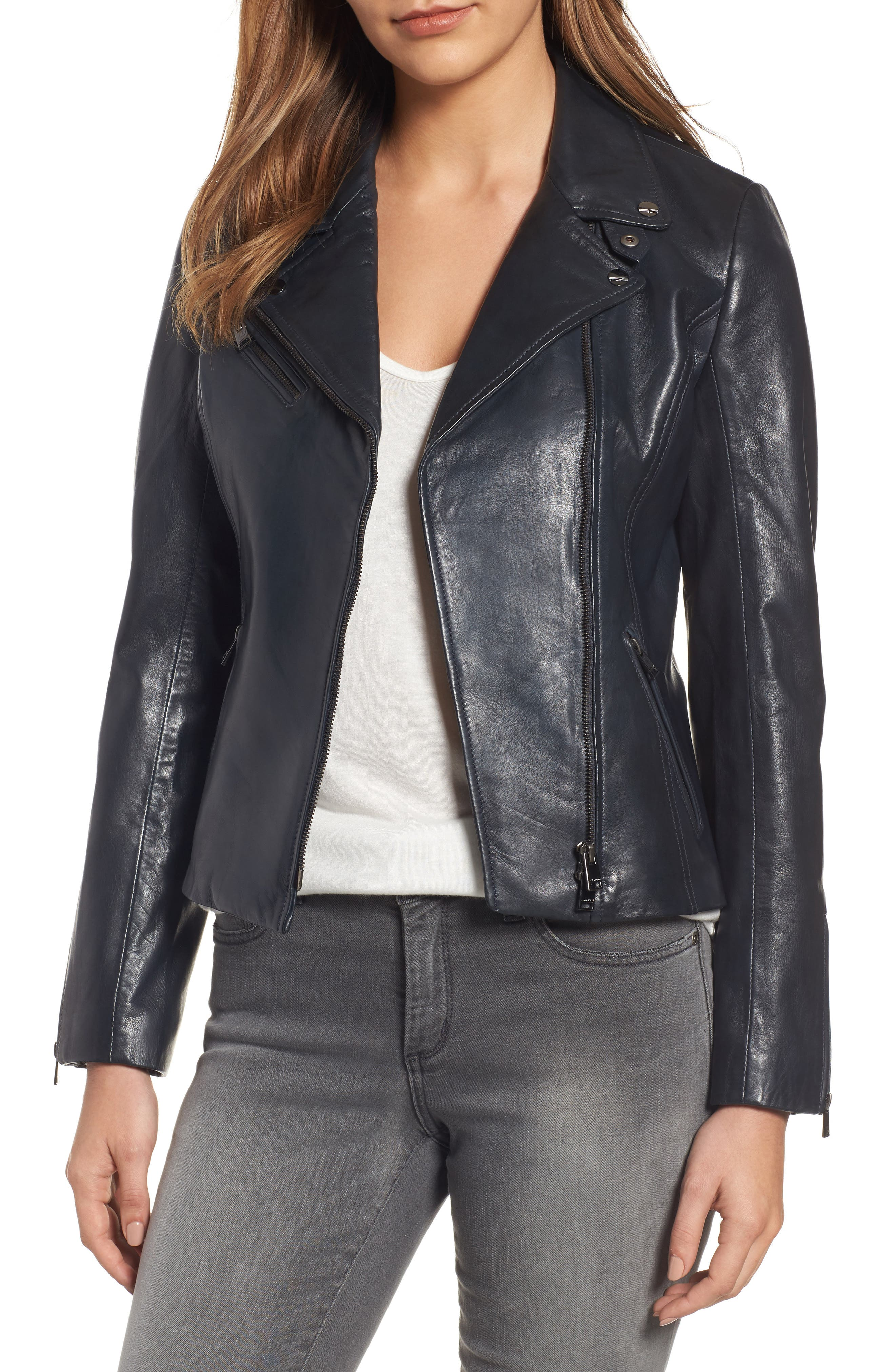 LAMARQUE Asymmetrical Zip Leather Biker Jacket