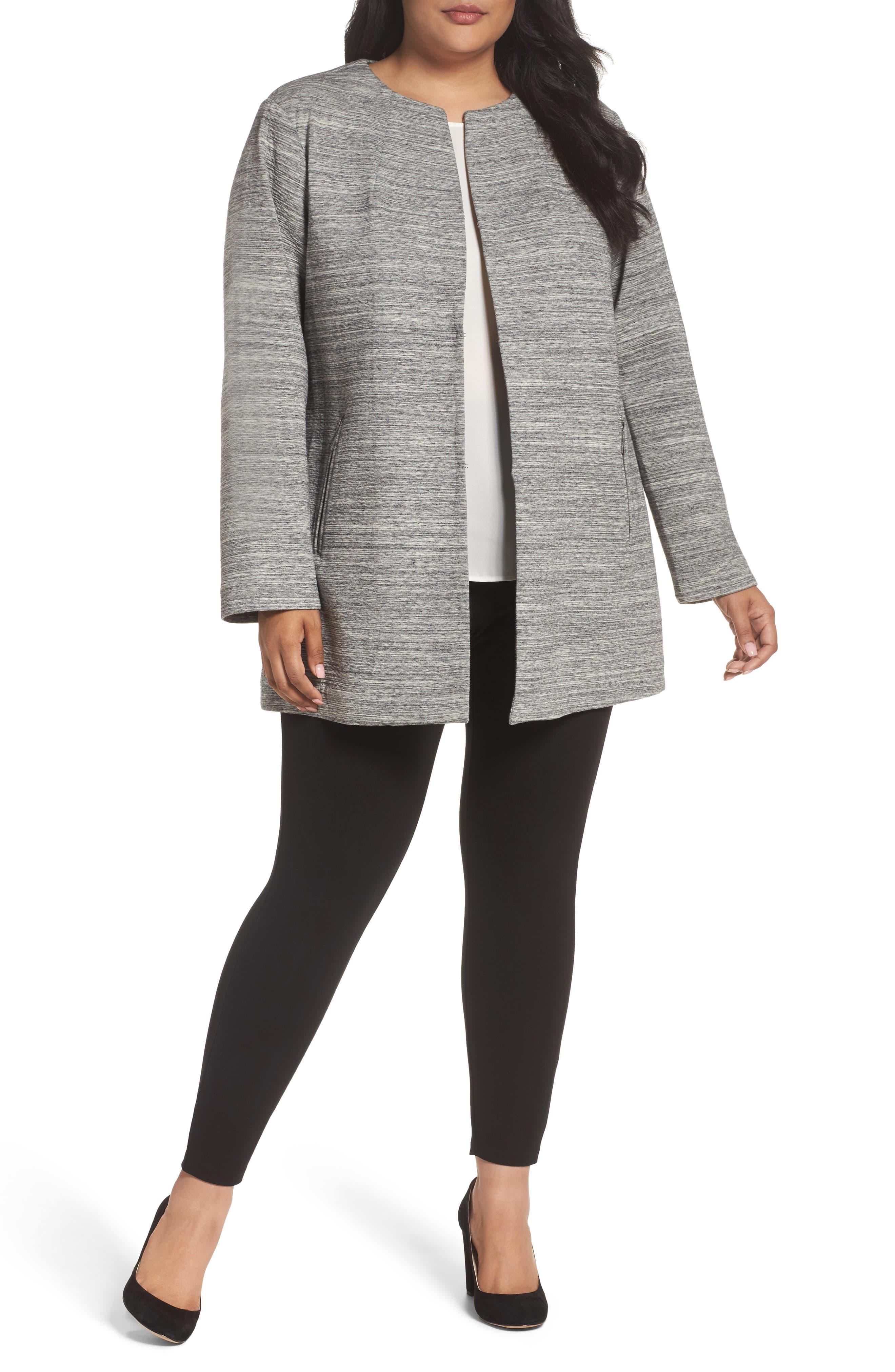 Main Image - MICHAEL Michael Kors Textured Knit Topper (Plus Size)