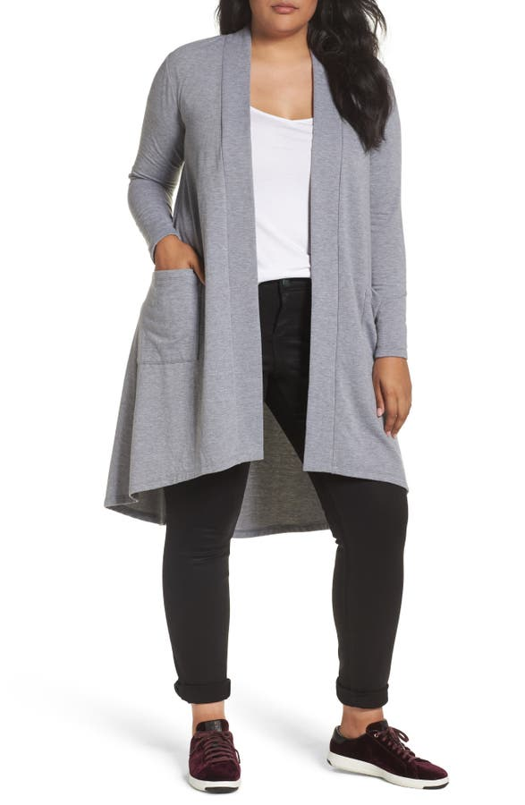 Bobeau High/Low Long Fleece Cardigan (Plus Size) | Nordstrom